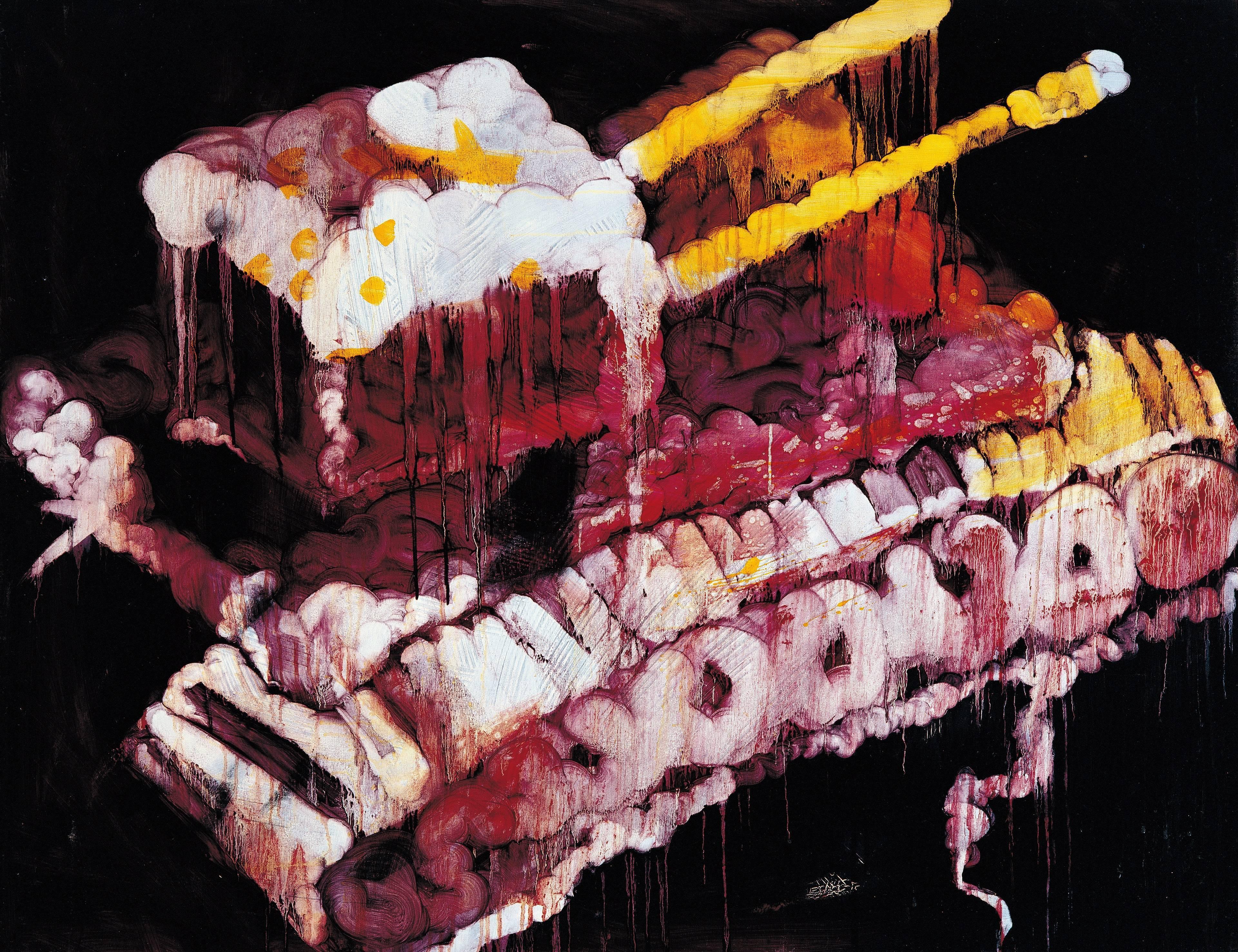 常陵|五花肉系列-肉兵器-雙管坦克|2007|油彩|112x145.5cm