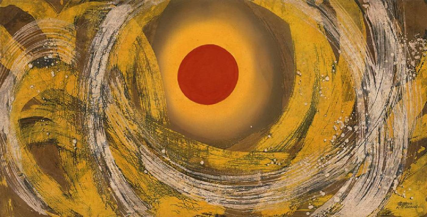 黃歌川,創世紀,64x125cm,1970。(冰裂紋蠟染畫)