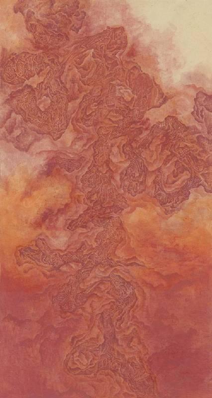 洪郁喜Hung Yu Hsi / 福緣善慶 Proper Deeds may bring Bliss  水墨紙本設色 Colored Ink on Rice Paper  180x90 cm 2018
