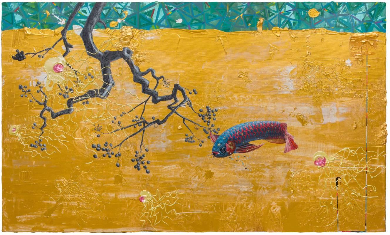 武則天 Wu Zetian 2018 97x163cm 壓克力、炭、金箔、畫布 Acrylic, charcoal, gold foil on canvas