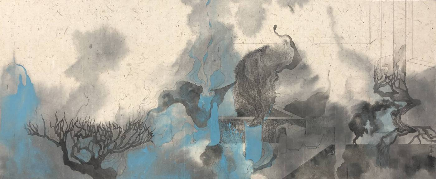 林采瑩|憂憂之間|紙本、|紙本、墨、礦物|34x82cm|2019