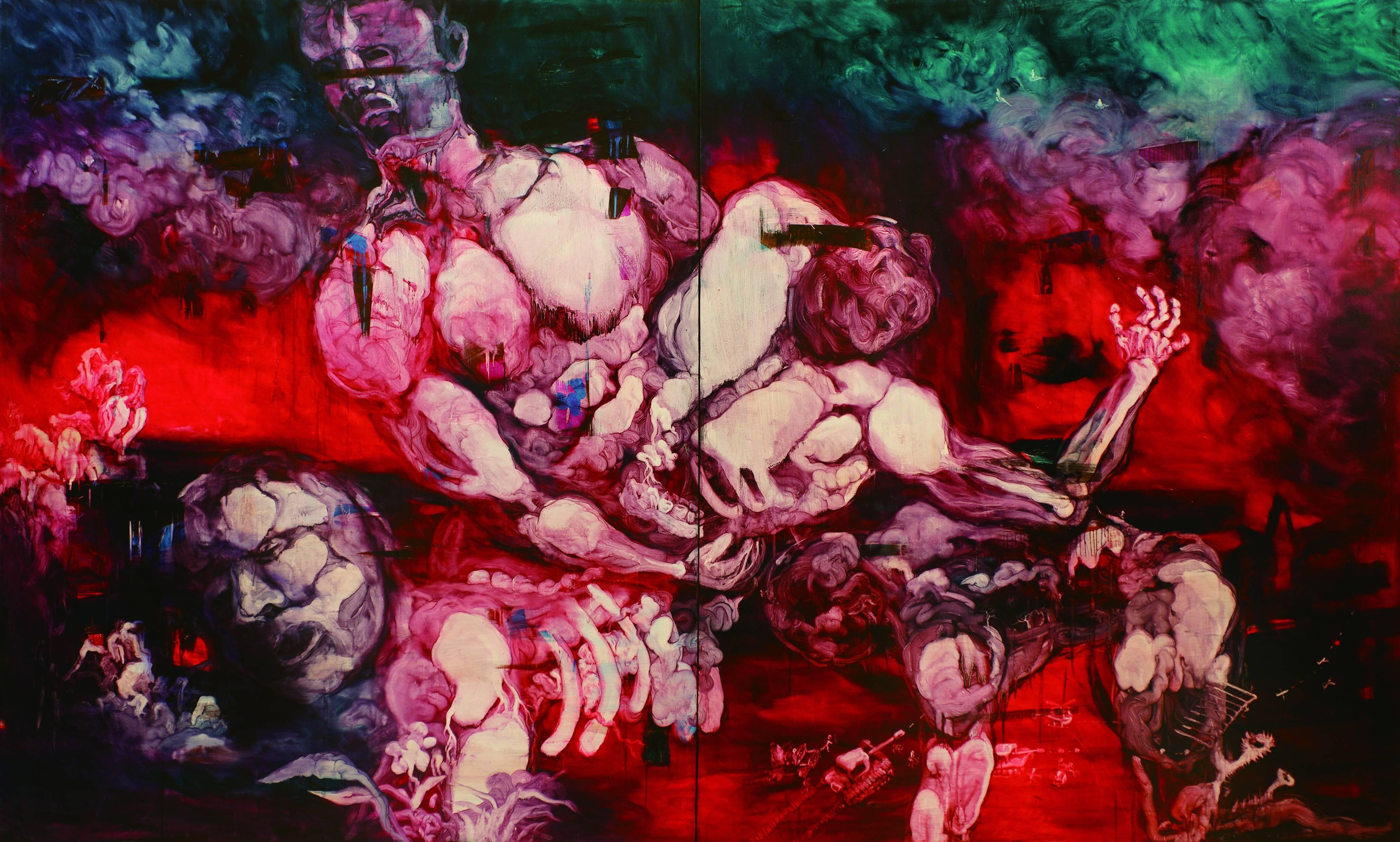 常陵|五花肉系列-肉宗教-肉世界再創記|2010|油彩|400x240cm (雙聯幅)