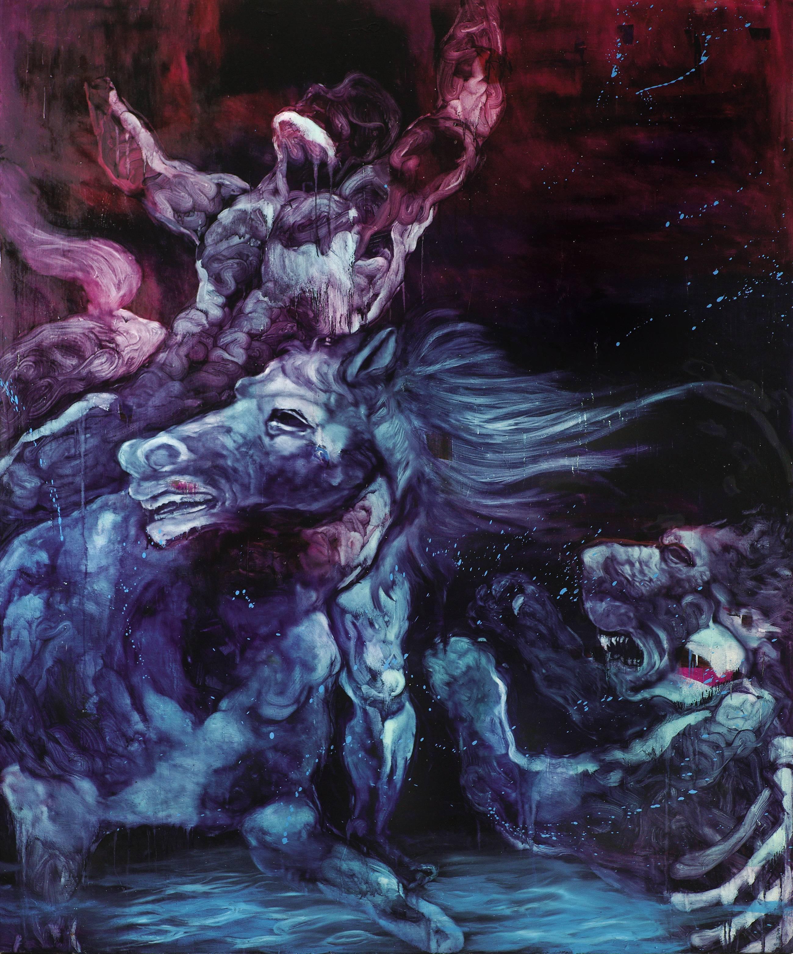 常陵|五花肉系列-肉宗教-江影獵殺|2010|油彩|240x200cm
