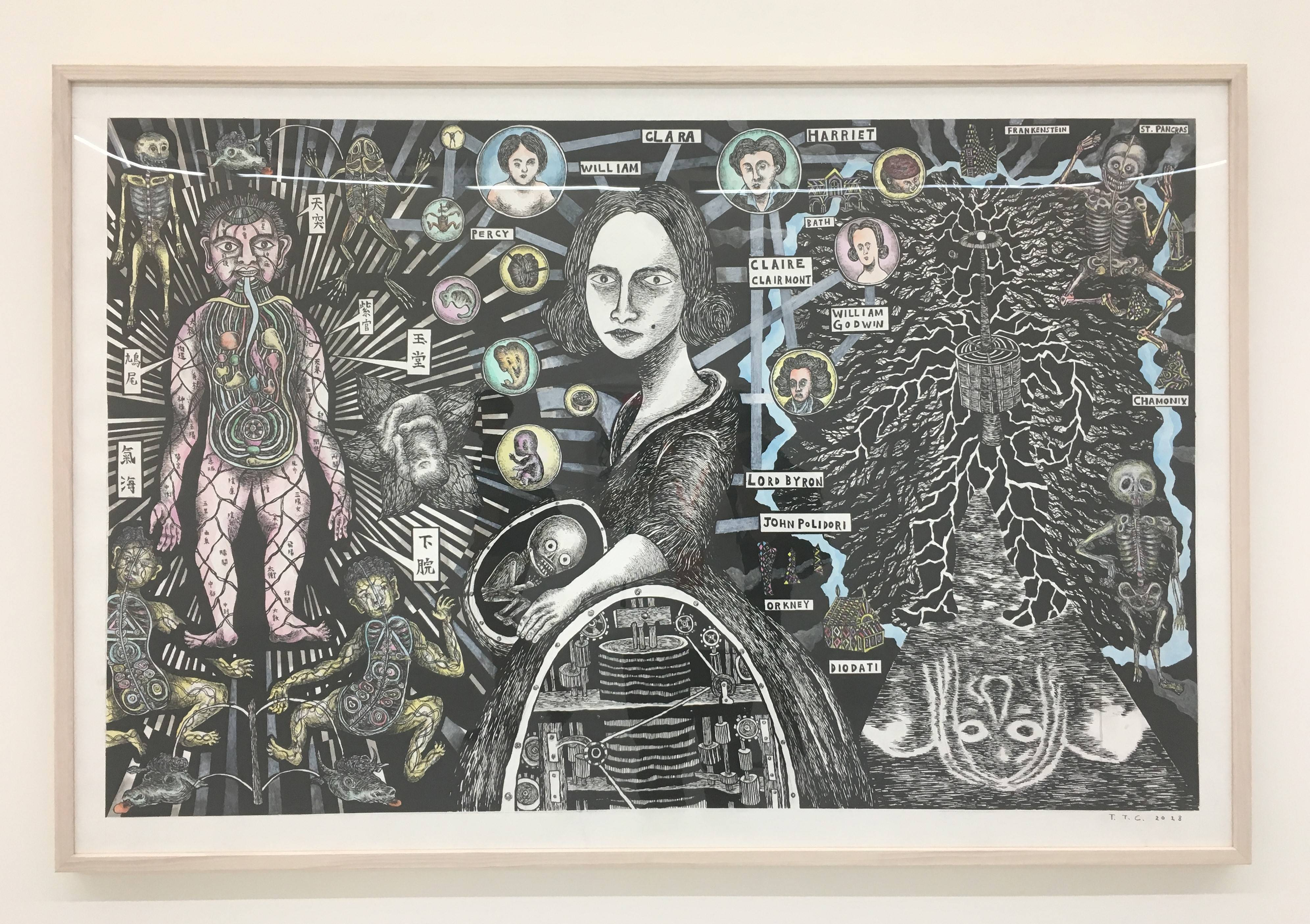 【Kosmos】張碩尹個展 張碩尹,《瑪莉雪萊的科學怪人:或,現代普羅米修斯1818》, 墨、水彩、壓克力、手工紙本,100x150cm,2018。
