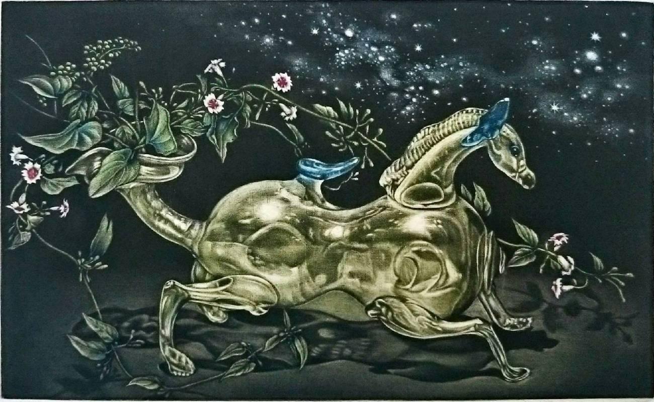 玻璃之馬| 美柔汀銅版 Mezzotint  | 21 x 12 cm | 2018