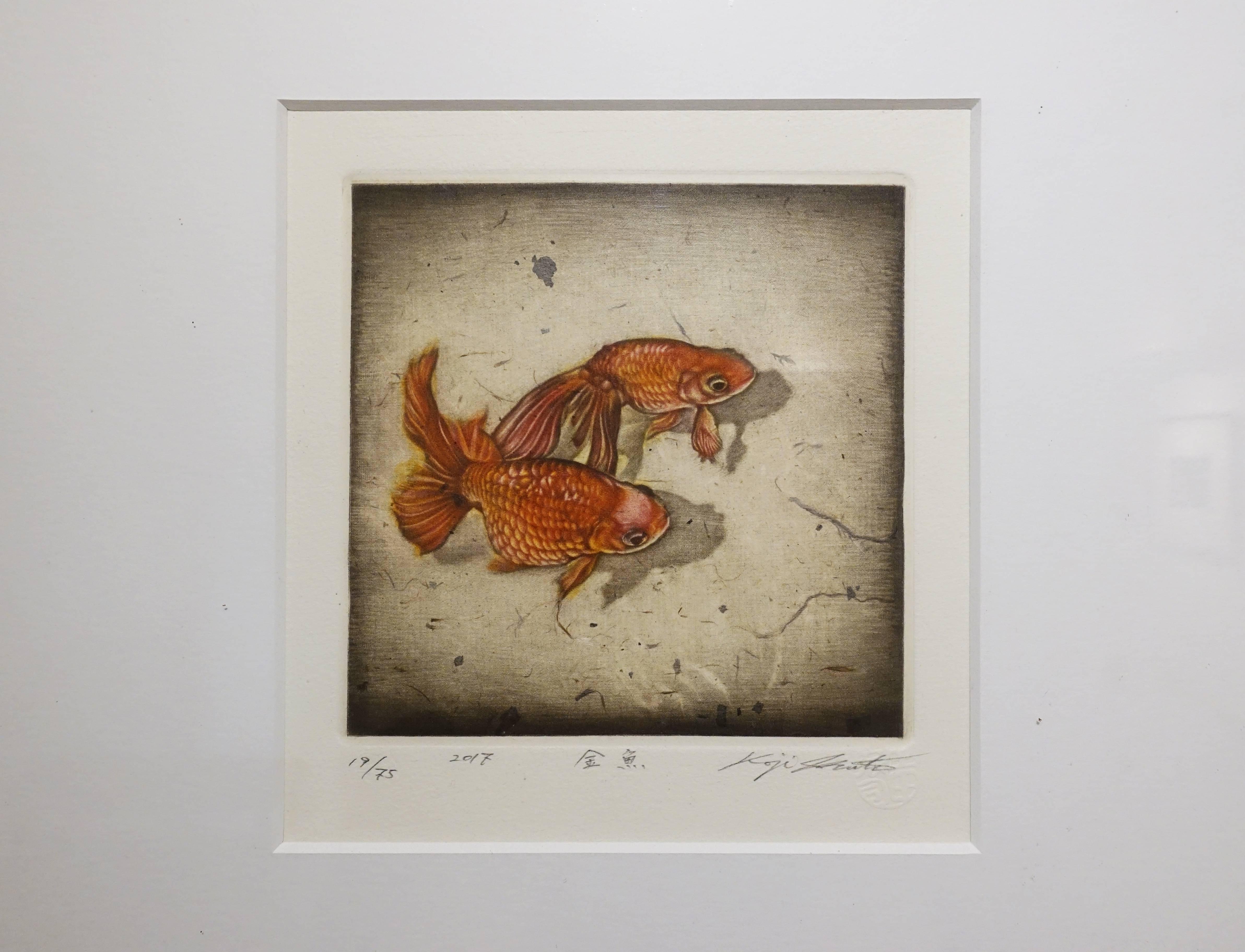 生田宏司,《金魚》,美柔汀銅版,2017。