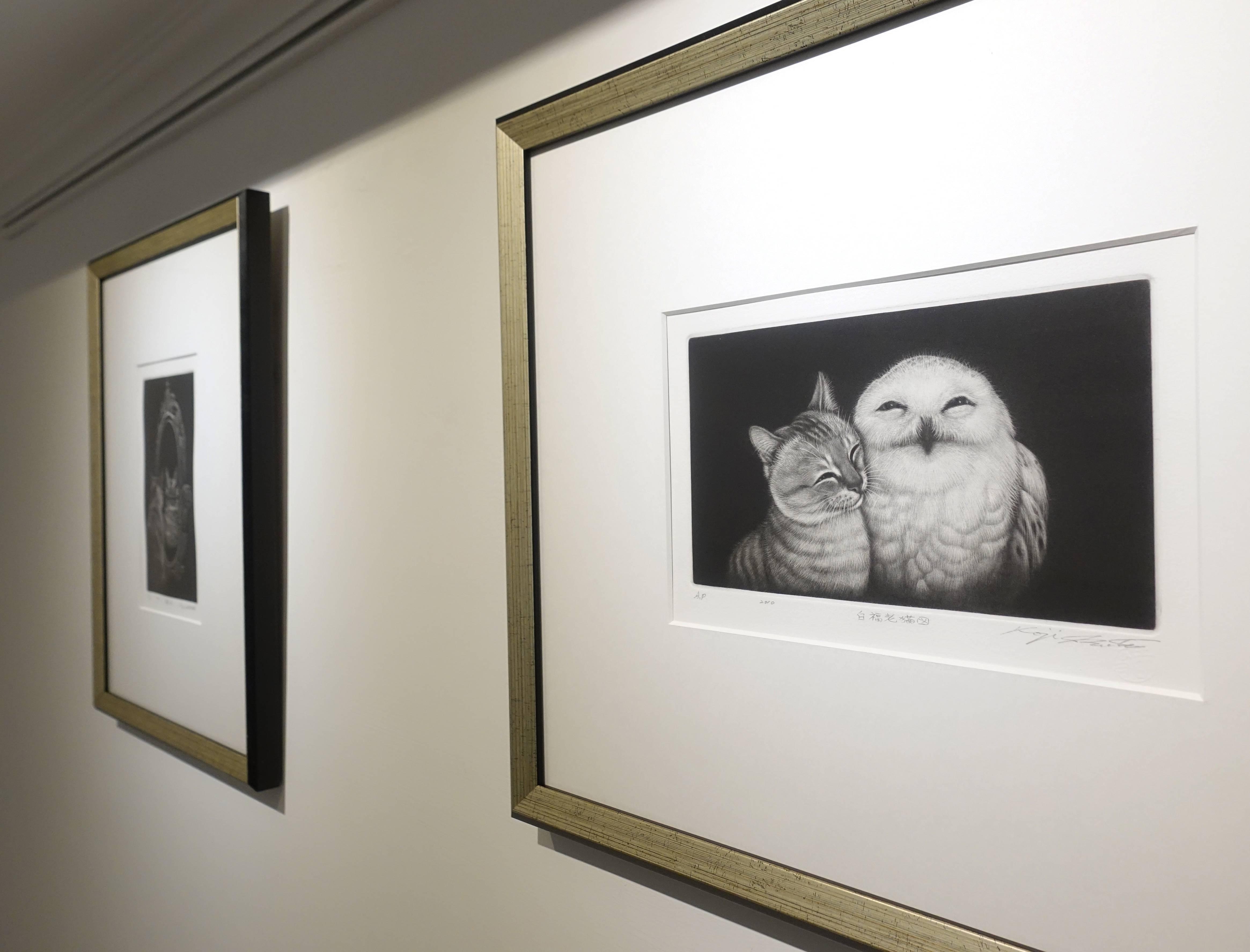 生田宏司,《貓頭鷹與貓圖》,美柔汀銅版,2010。