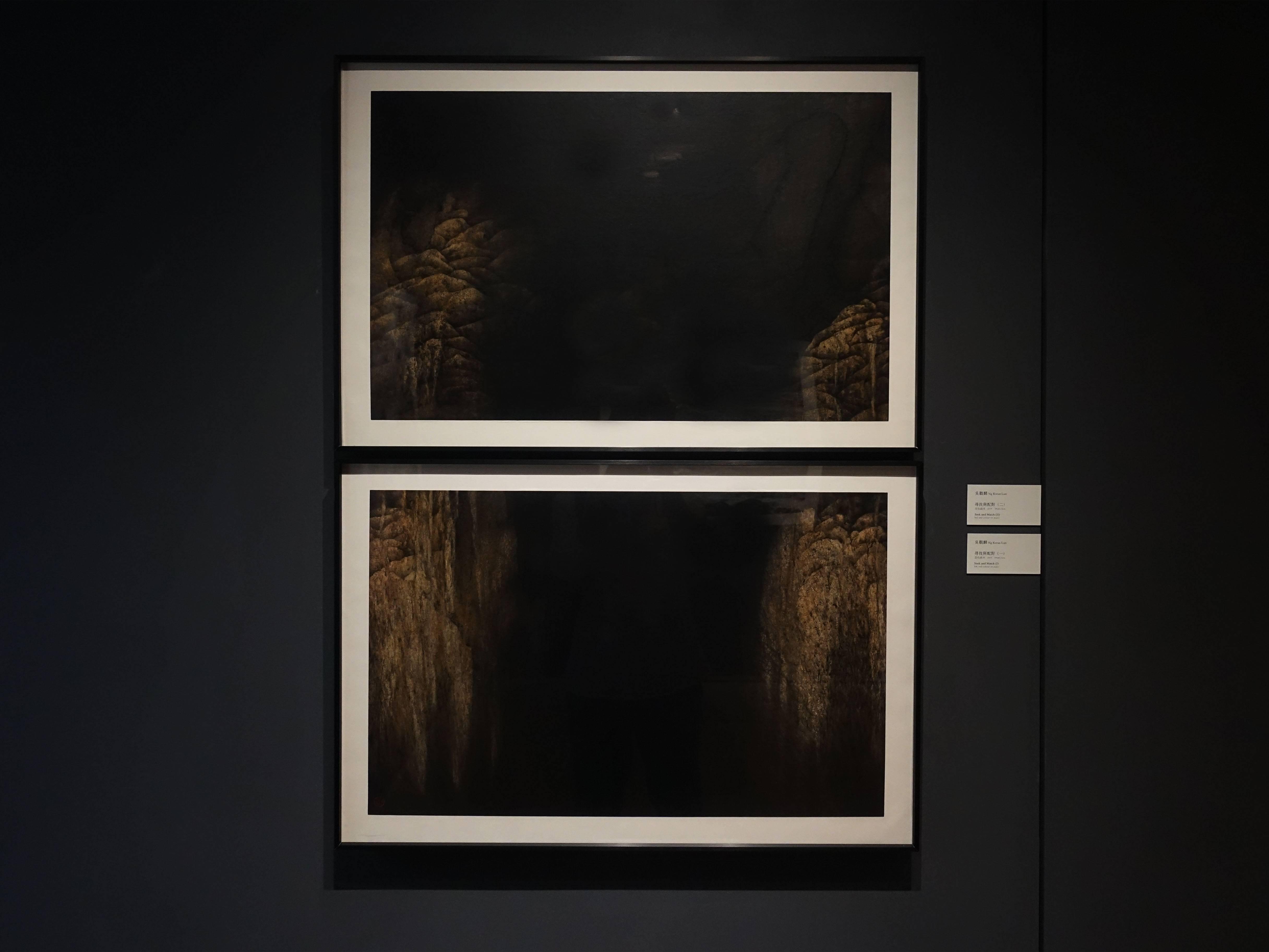 吳觀麟,《尋找與配對1》《尋找與配對2》,水墨設色紙本,2019。