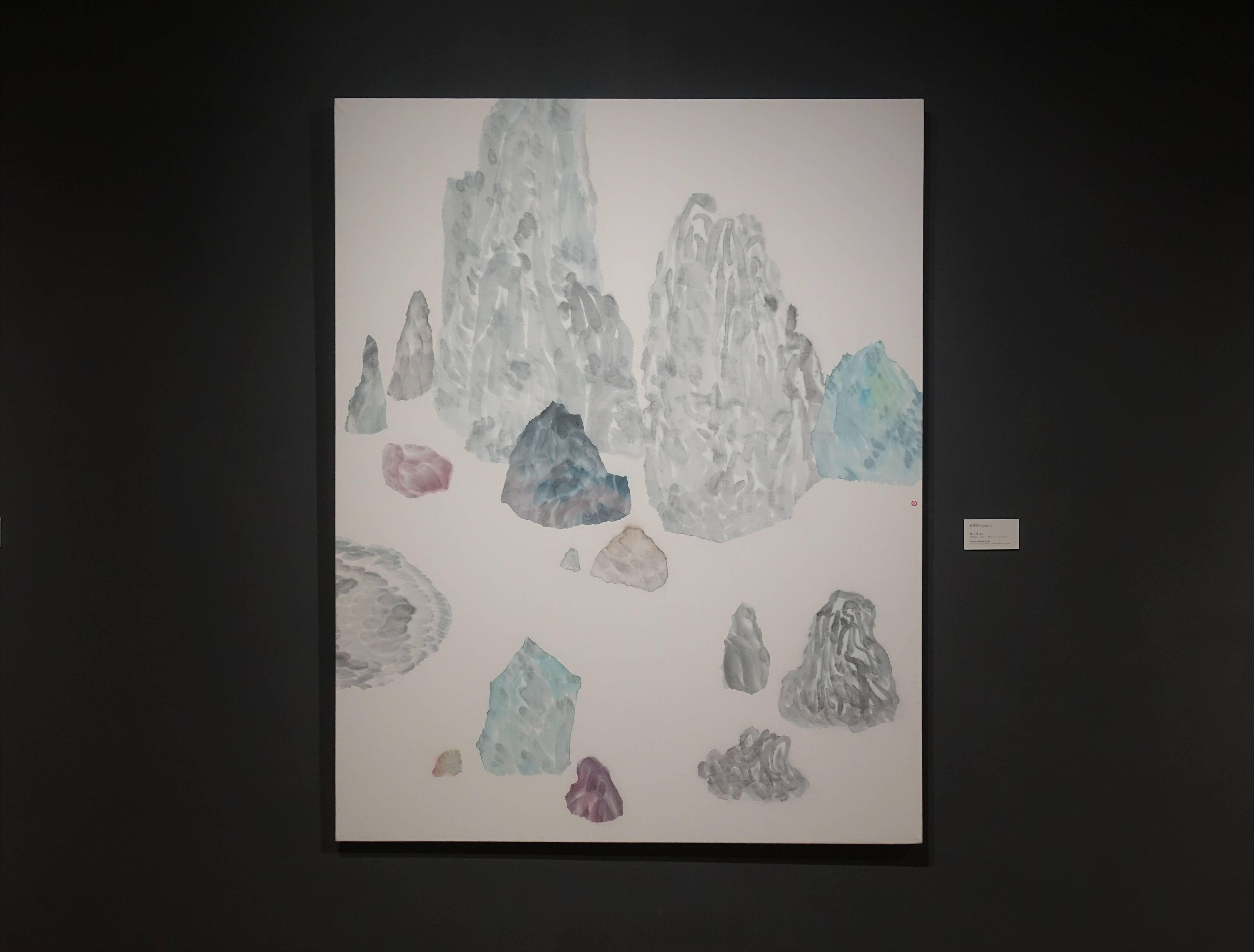 袁慧莉,《孤山水45》,設色紙本(宣紙)、拼貼,2017。