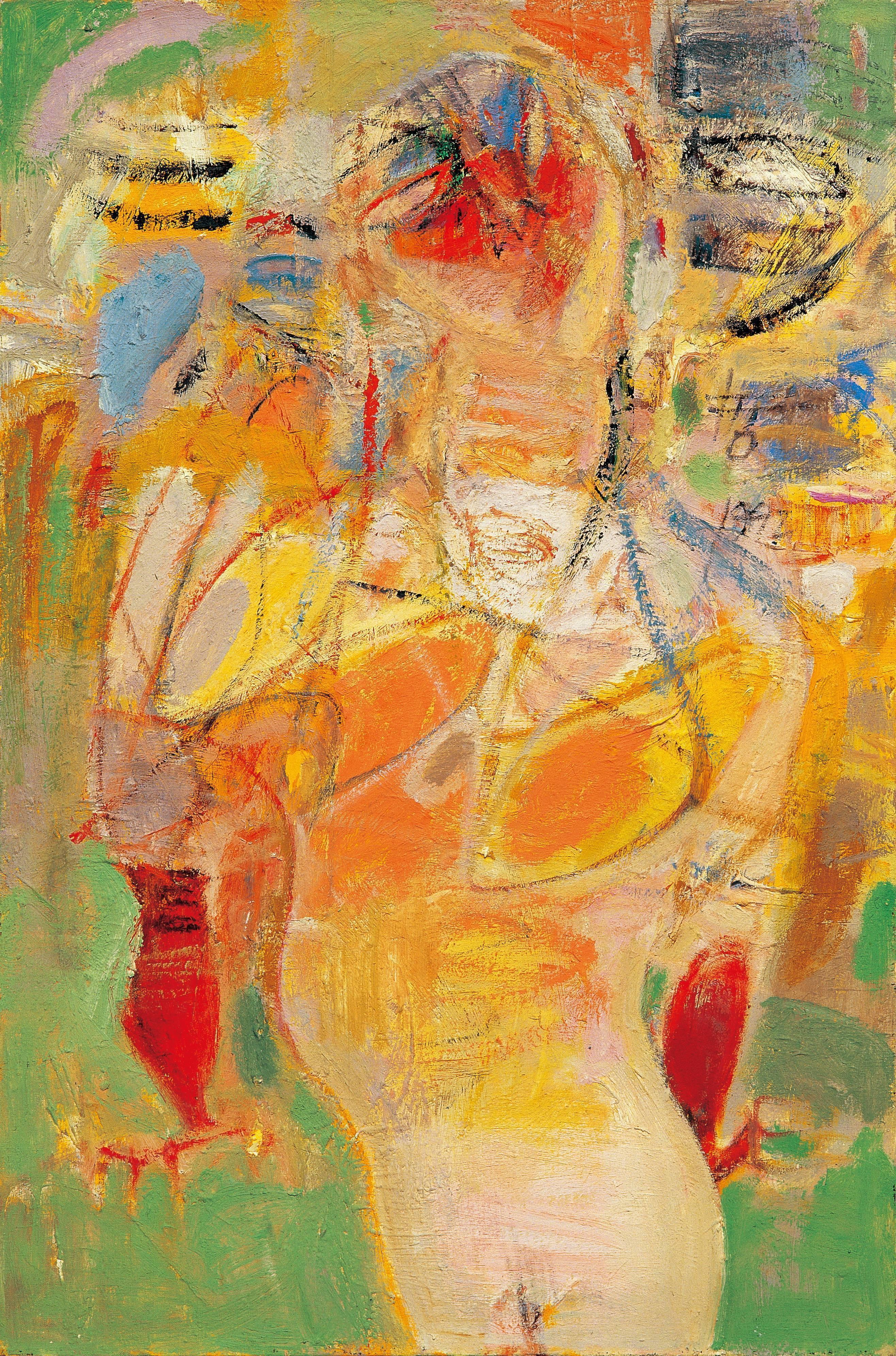 黃銘哲|女人與自畫像-II|1992|綜合媒材|61x91cm