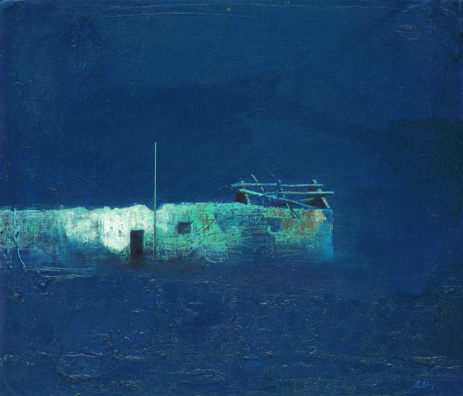 藍色的夜Ⅲ,油彩、畫布,53 x 46 cm,2017,(私人收藏)。圖/毓繡美術館提供