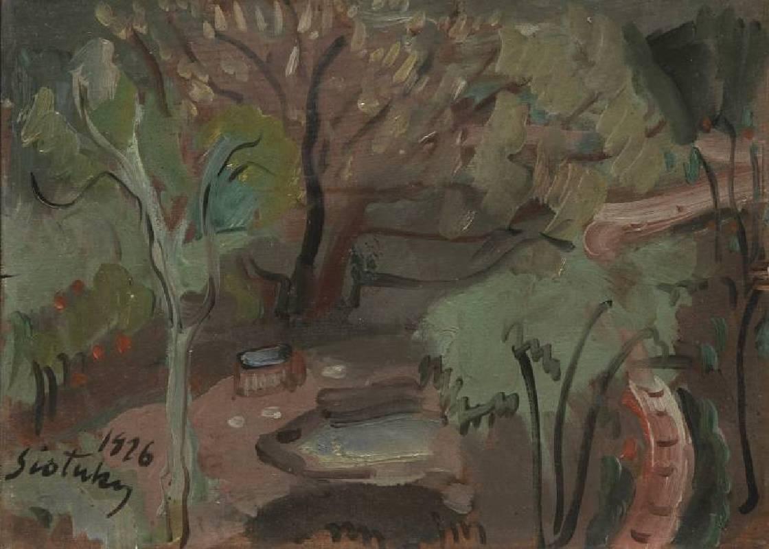 鹽月桃甫,1926油彩,木板,4F