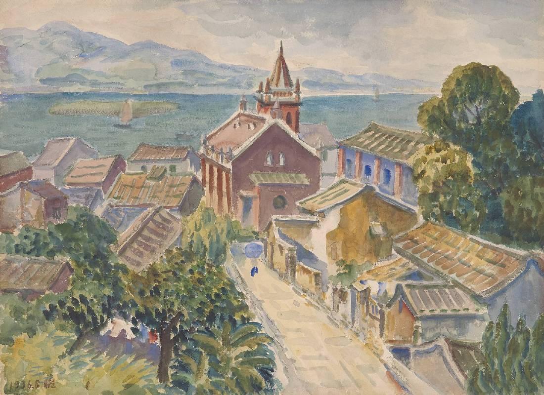 倪蔣懷,1936,水彩,49×66 cm