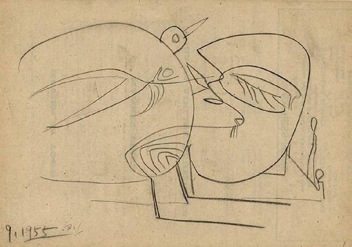 霍剛 Ho Kan,〈Imagery7〉,1955,炭筆、紙本 Charcoal on paper,19.3x27.2cm
