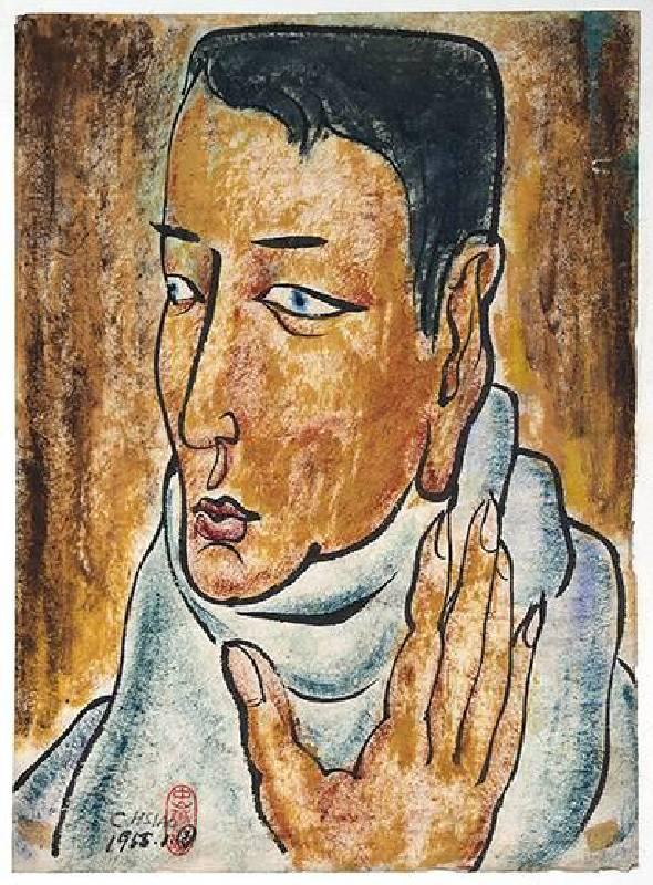 蕭勤 Hsiao Chin,〈人像〉Portrait of a man,1955,水墨、紙本Ink on paper,39.5x29cm