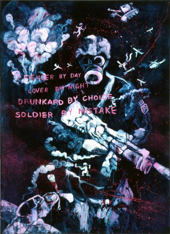 常陵 五花肉系列-肉兵器-士兵 2009 油彩 200x145cm