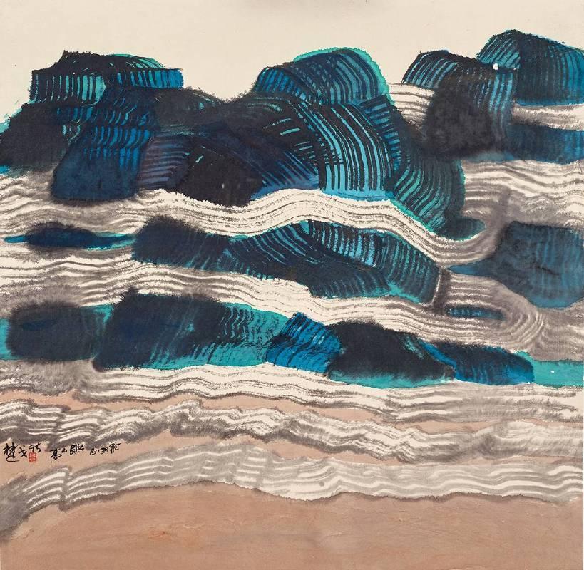 楚戈 高山長供白雲飛 1995 水墨、壓克力、紙本 68×69cm