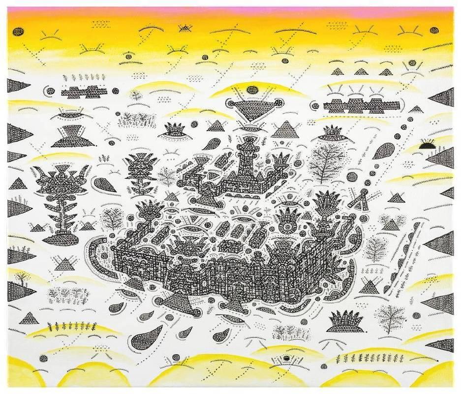 林書楷_陽台城市文明系列-期望擁有沒有圍籬的王城_2018_複合媒材、畫布_45.5x53cm