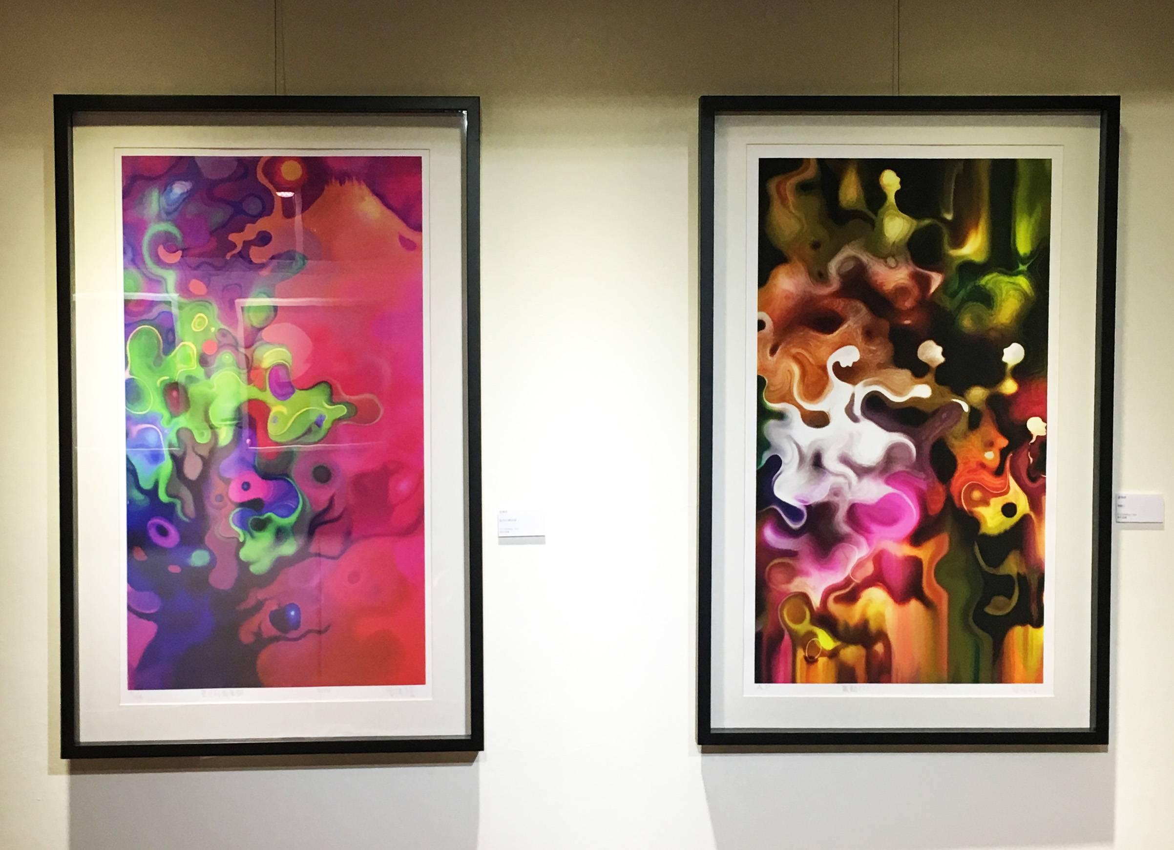 曾傳傑,《藍色的蘋果樹》50 x 90 cm,版畫,2014 (左)。《舞動2》50 x 90 cm,版畫,2014 (右)。