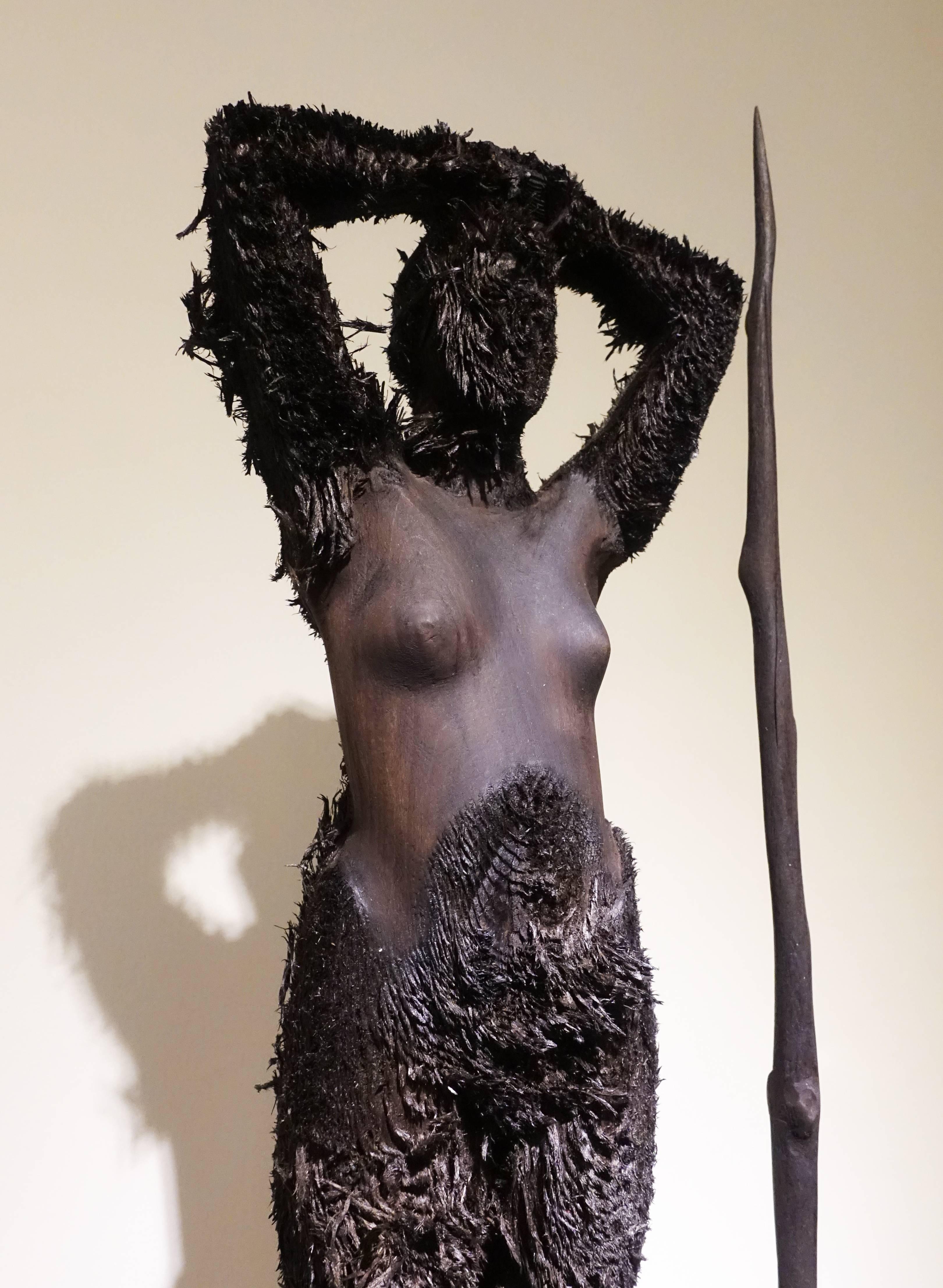 艾倫.德梅茲,《Bozzetto Burning Man》細節,55 x 19 x 12 cm ,Limewood椴木,2014。