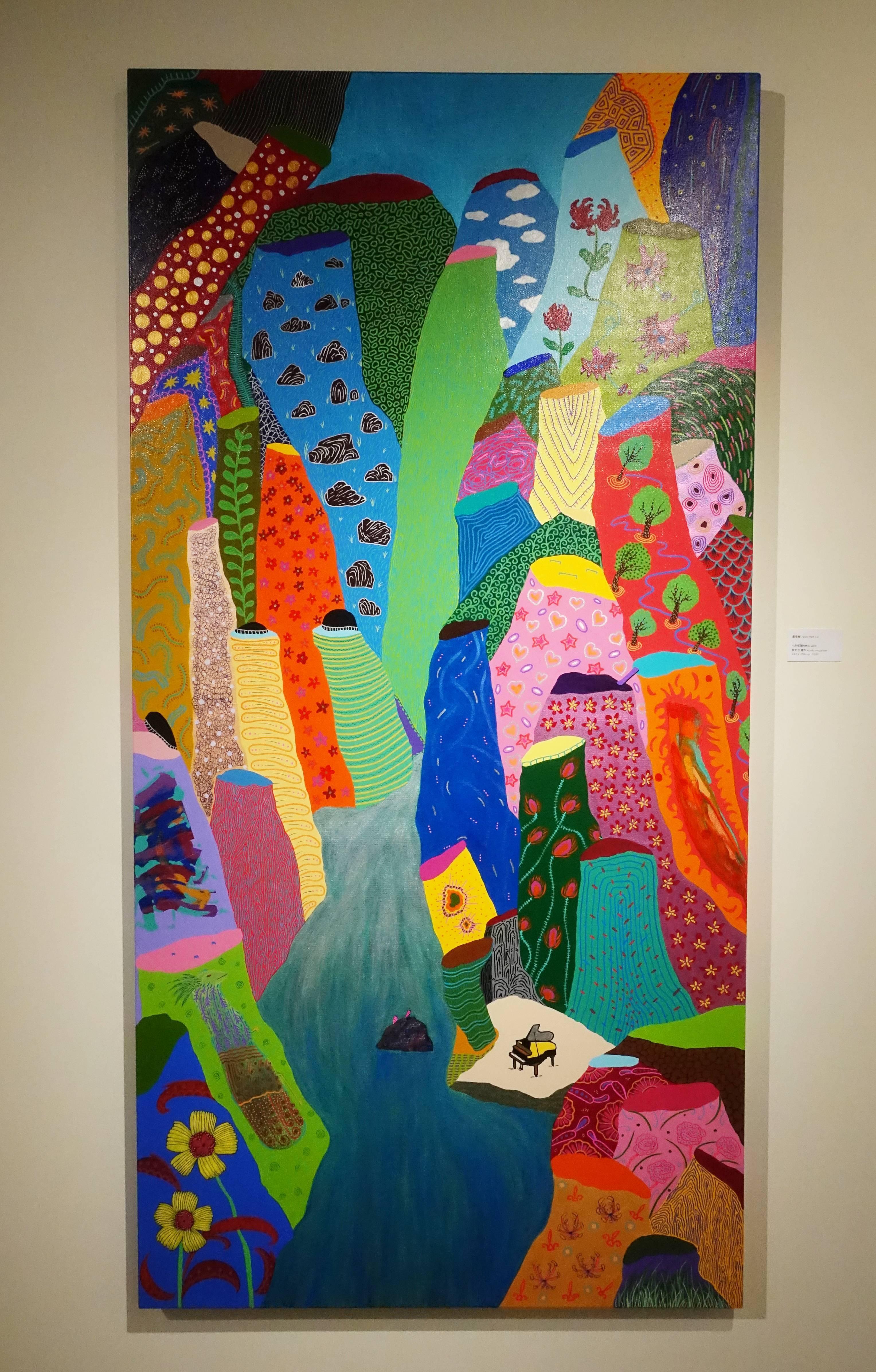 盧俊翰,《七彩斑斕的峽谷》,200 x 100 cm,壓克力,2018。