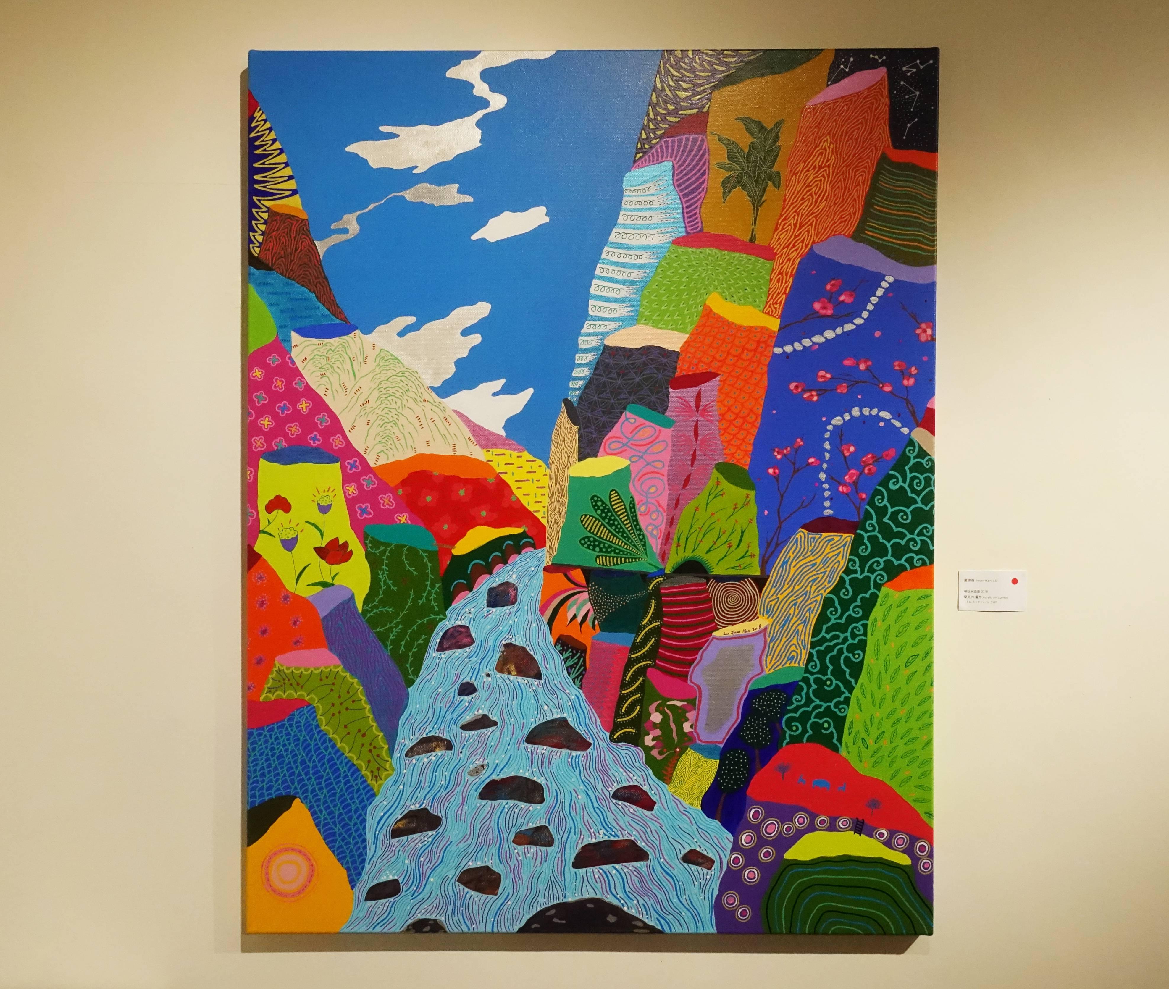 盧俊翰,《峽谷水滾滾》,116.5 x 91 cm,壓克力,2018。