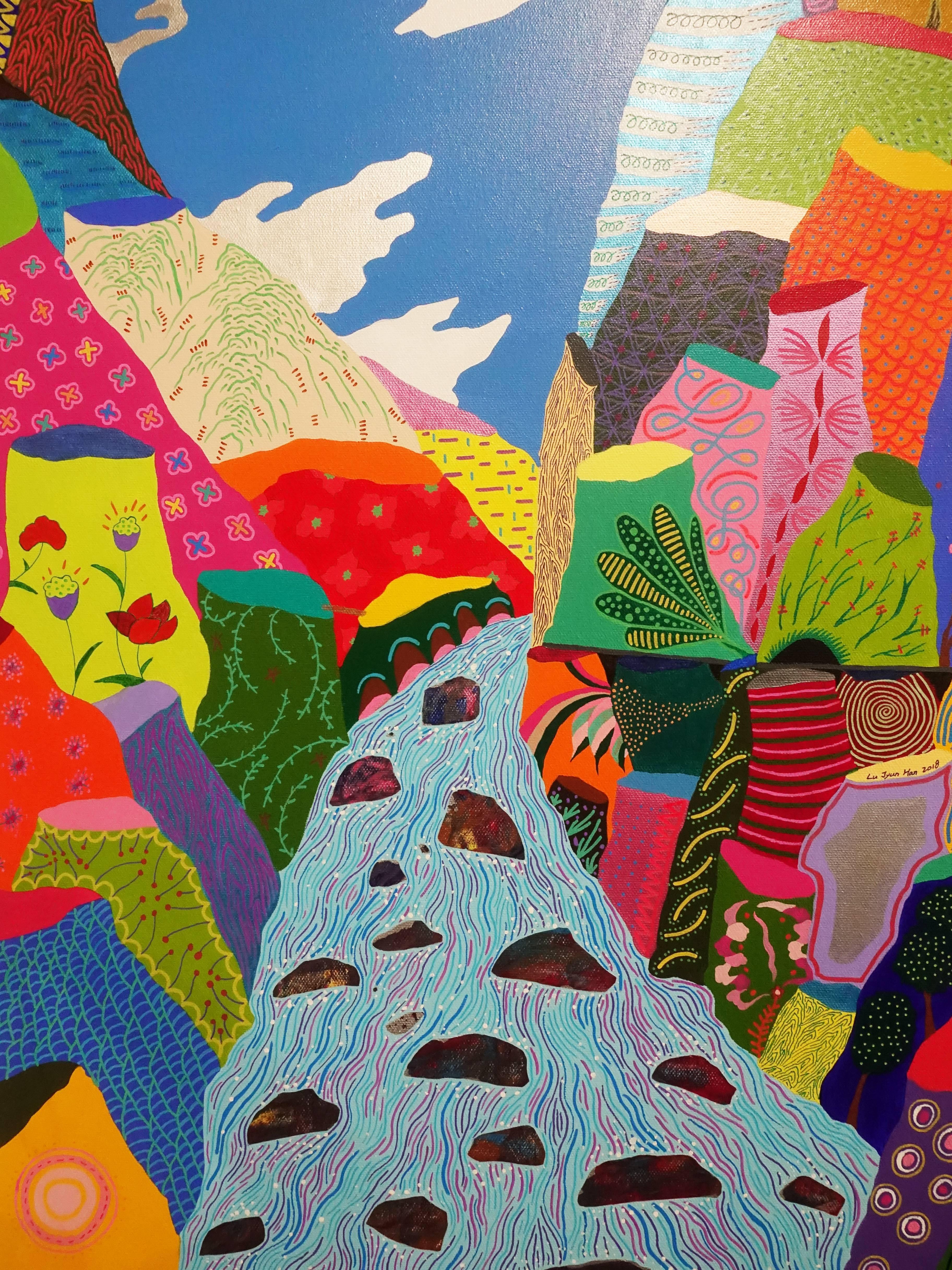 盧俊翰,《峽谷水滾滾》細節,116.5 x 91 cm,壓克力,2018。