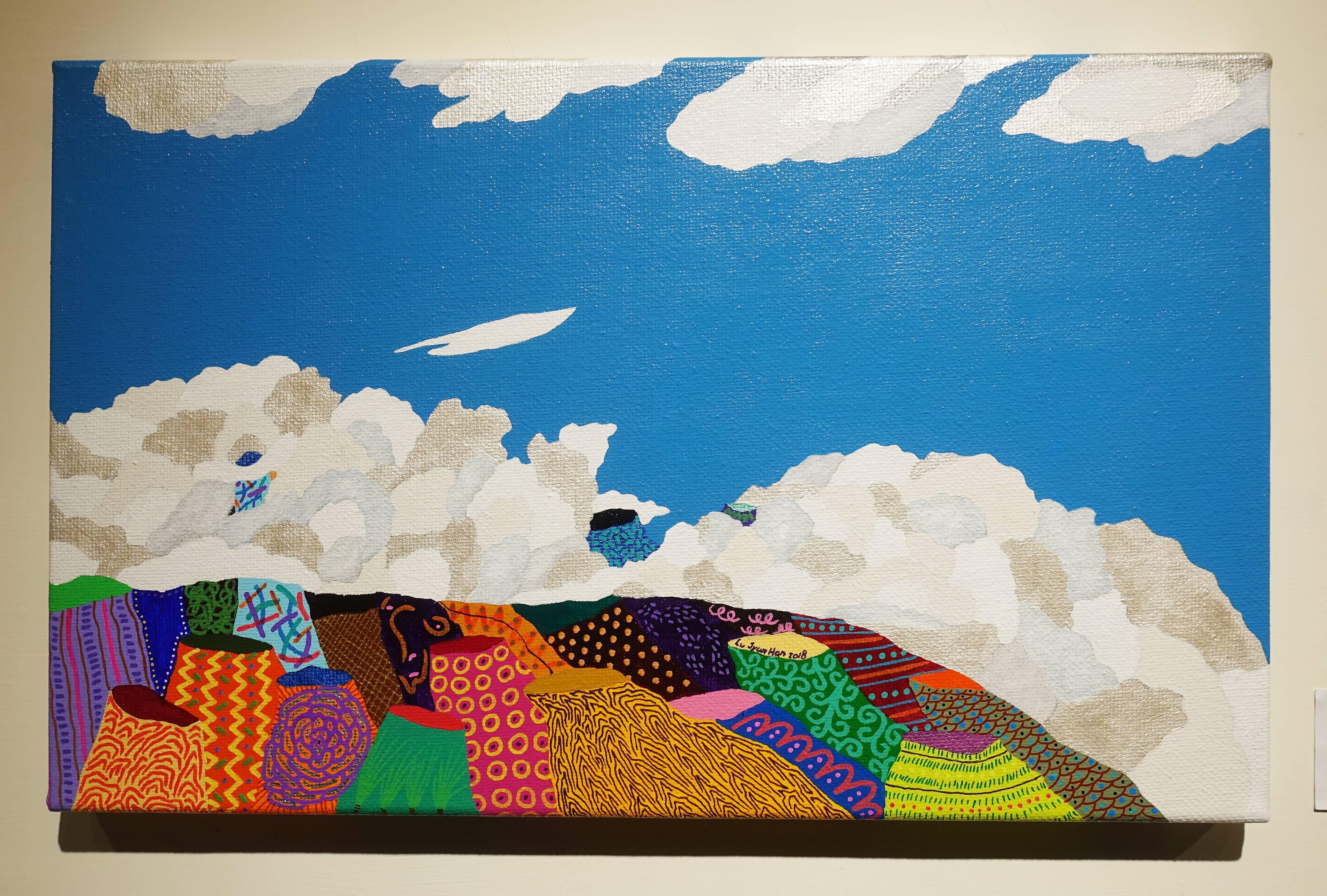 盧俊翰,《擁抱山的雲》,53 x 33 cm,壓克力,2018。