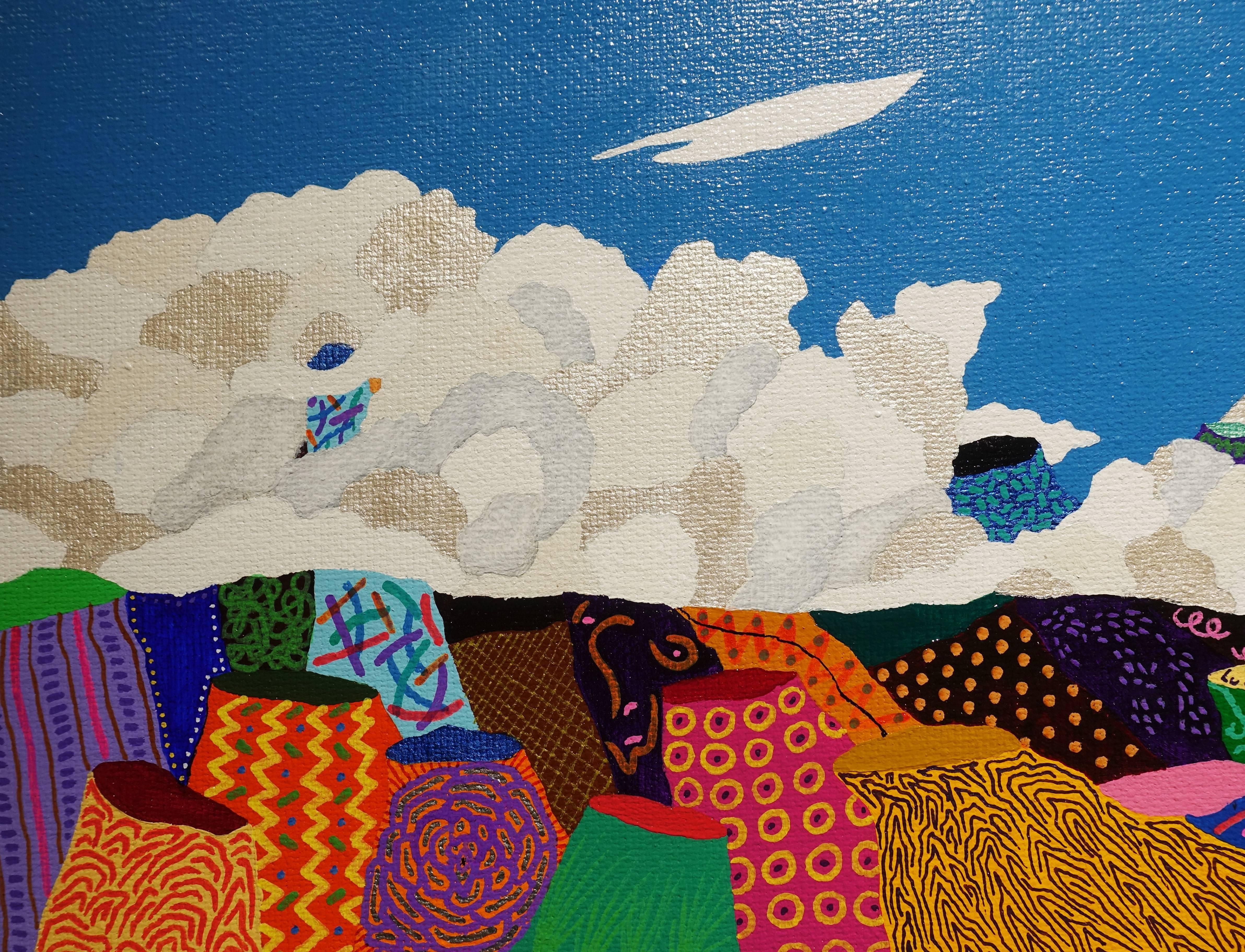 盧俊翰,《擁抱山的雲》細節,53 x 33 cm,壓克力,2018。