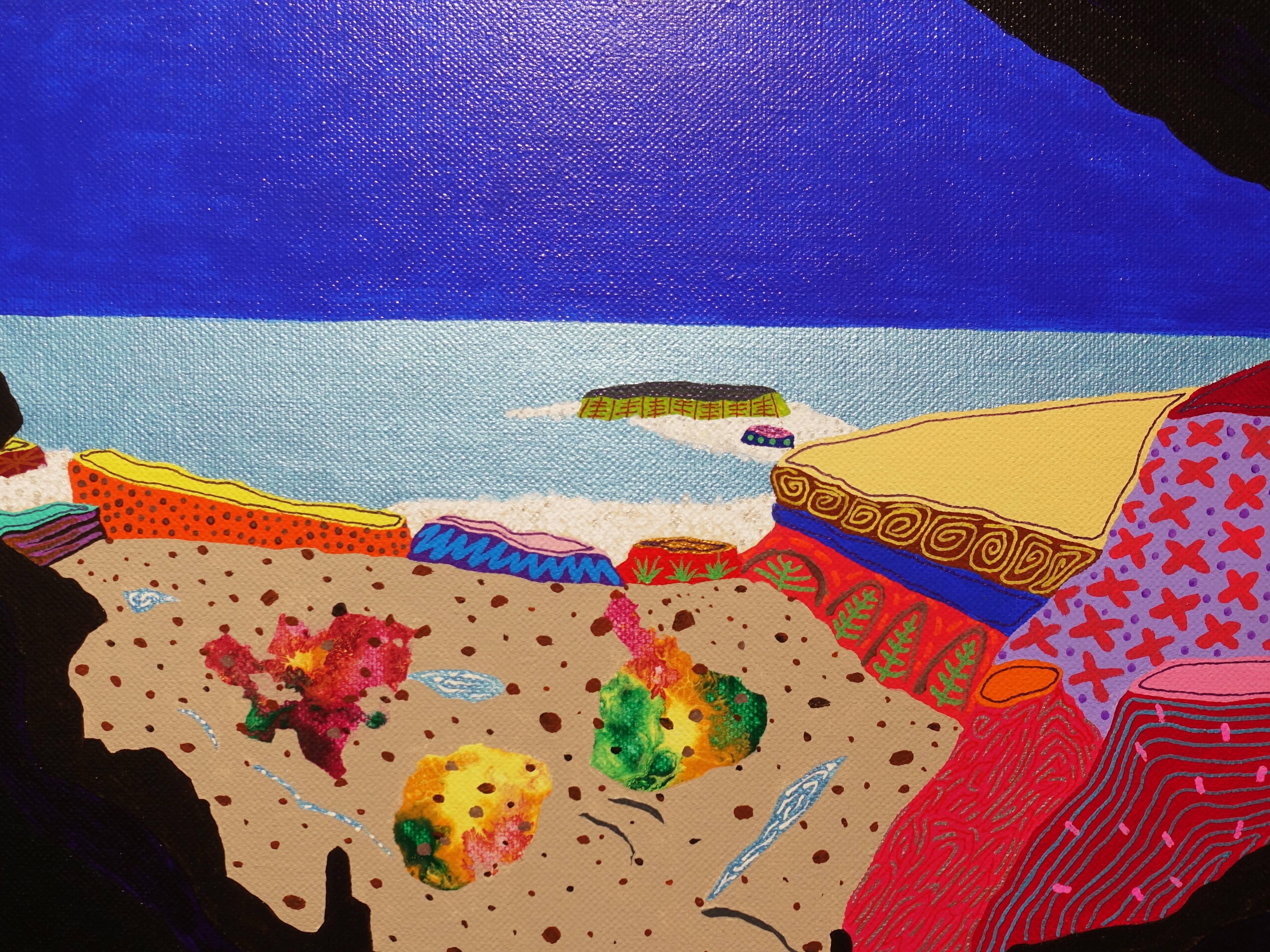 盧俊翰,《合歡洞》細節,91 x 72.5 cm,壓克力,2019。