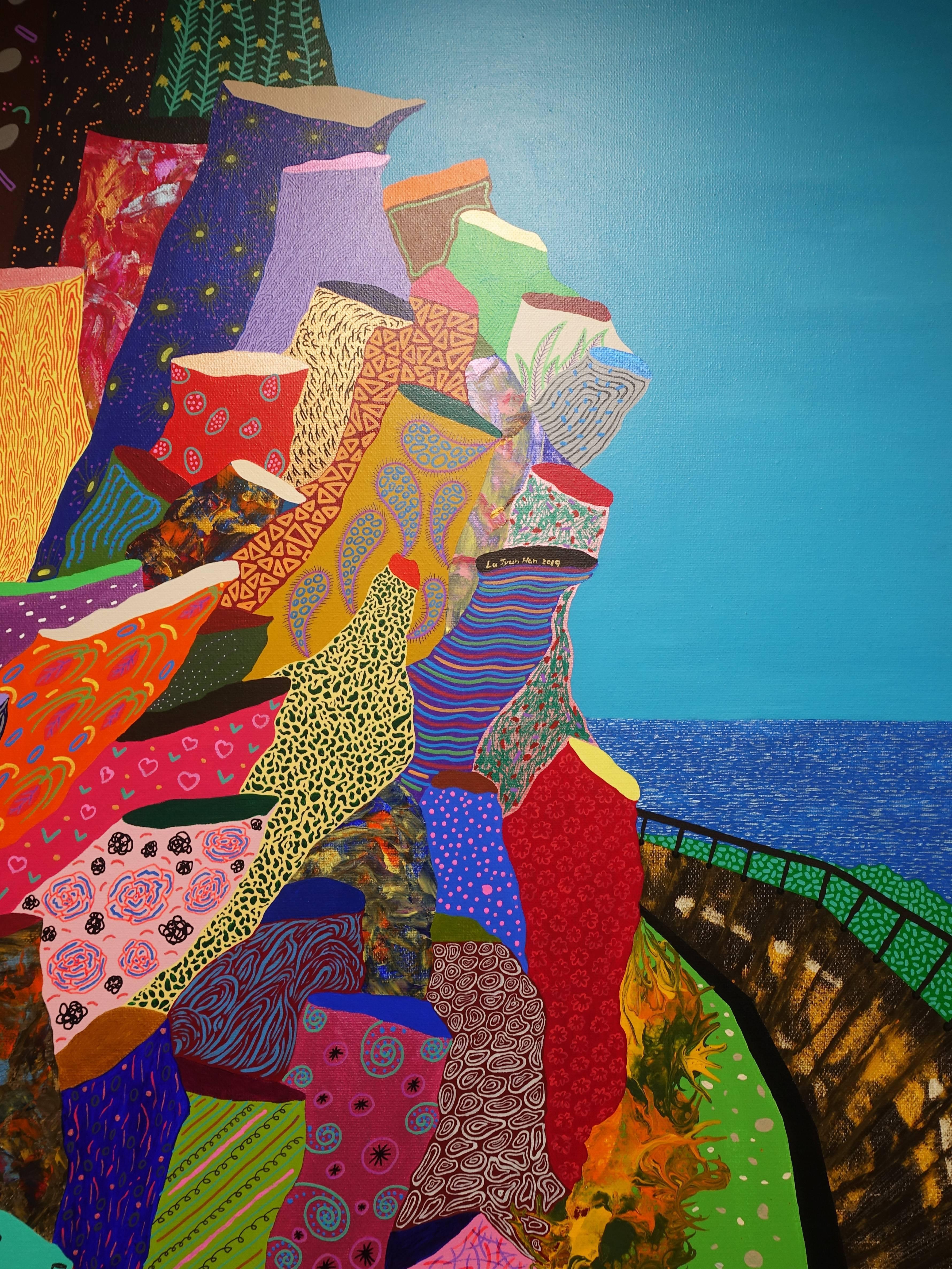 盧俊翰,《聽海風唱歌》細節,130 x 80 cm,壓克力,2019。