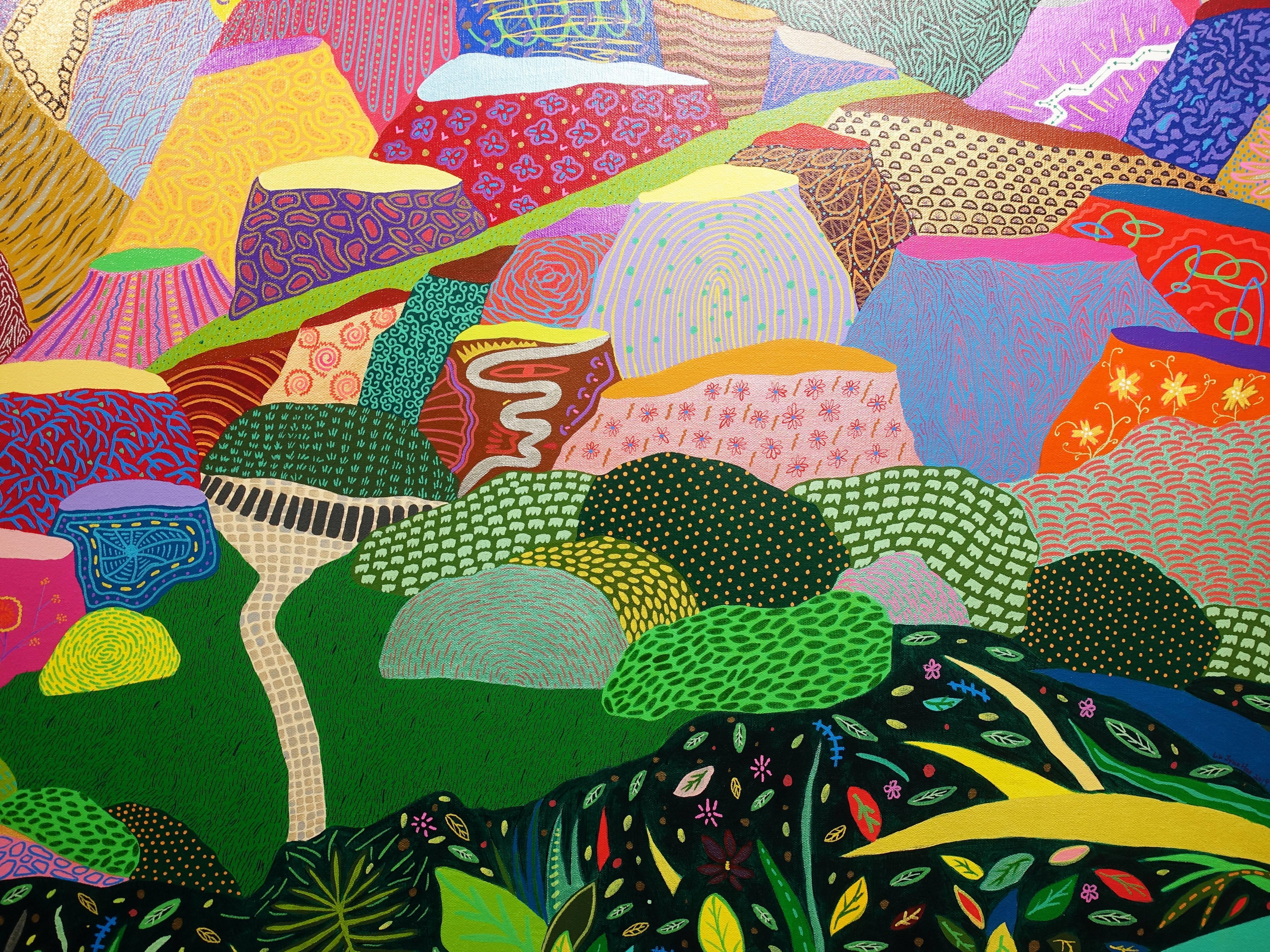 盧俊翰,《望幽谷》細節,194 x 130 cm,壓克力,2019。