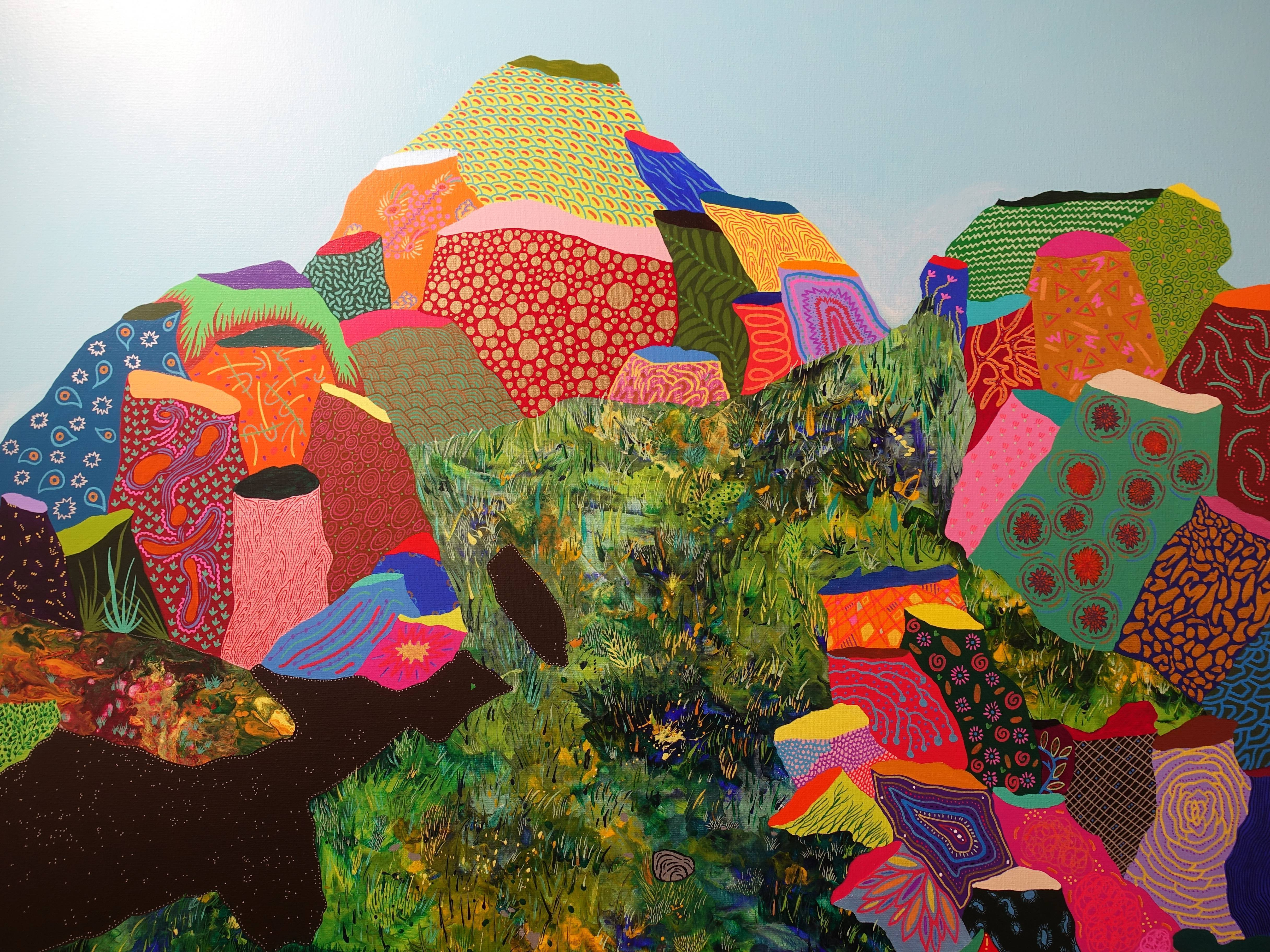 盧俊翰,《紛紜的情境》細節, 162 x 120 cm,壓克力,2019。