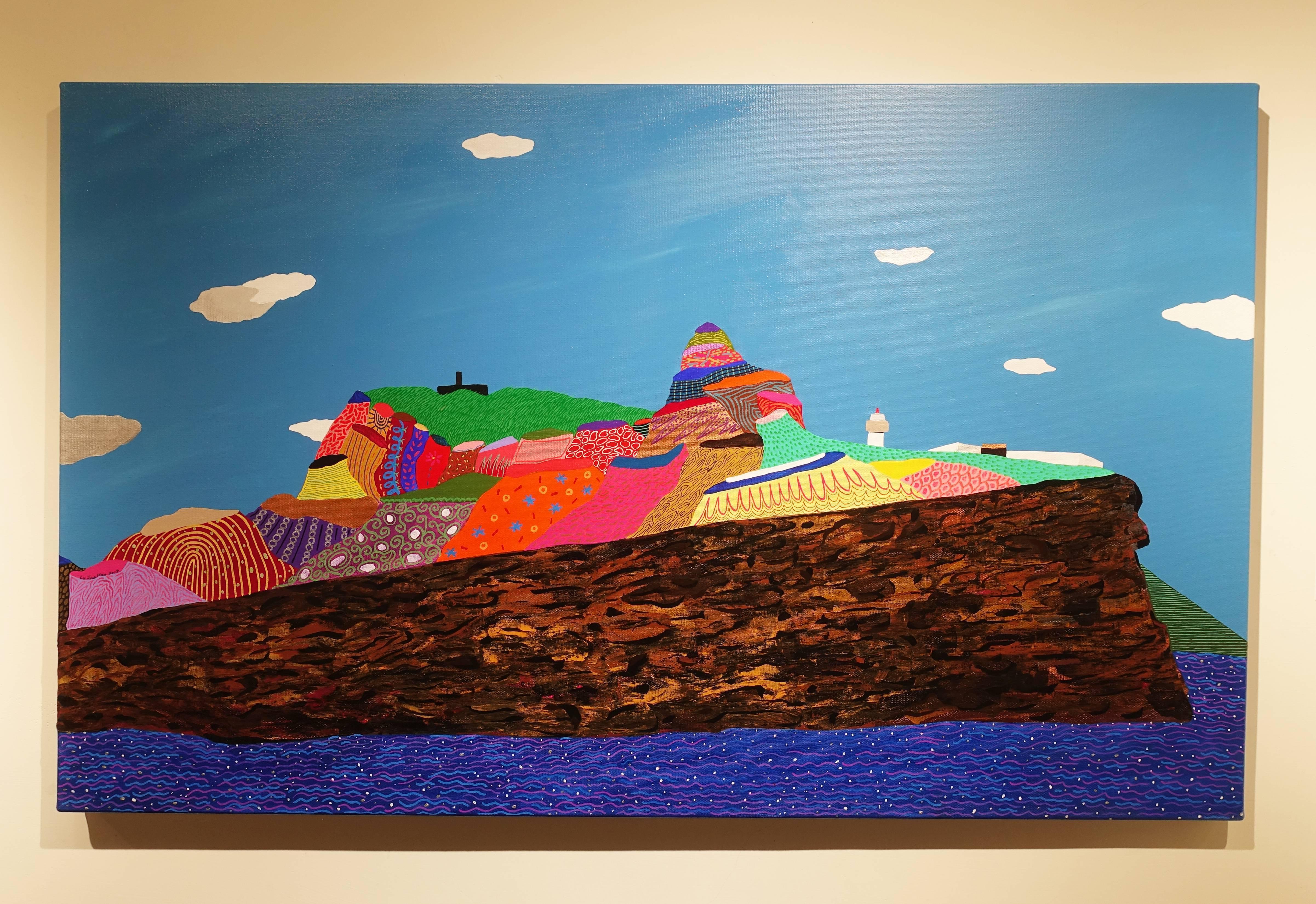 盧俊翰,《鼻頭角軍艦岩》細節, 130 x 80 cm,壓克力,2019。