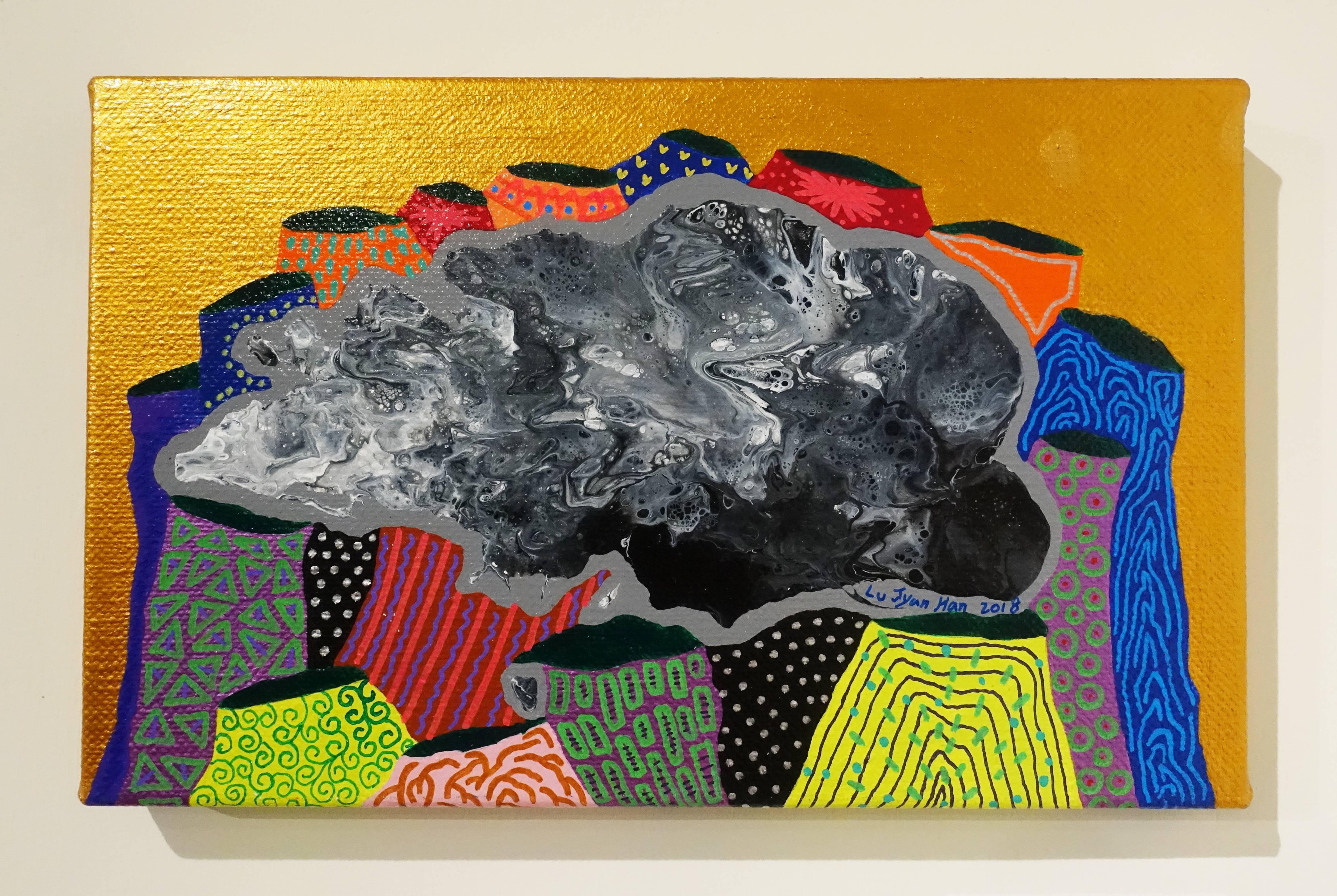 盧俊翰,《石壁如雲》,130 x 80 cm,壓克力,2018。