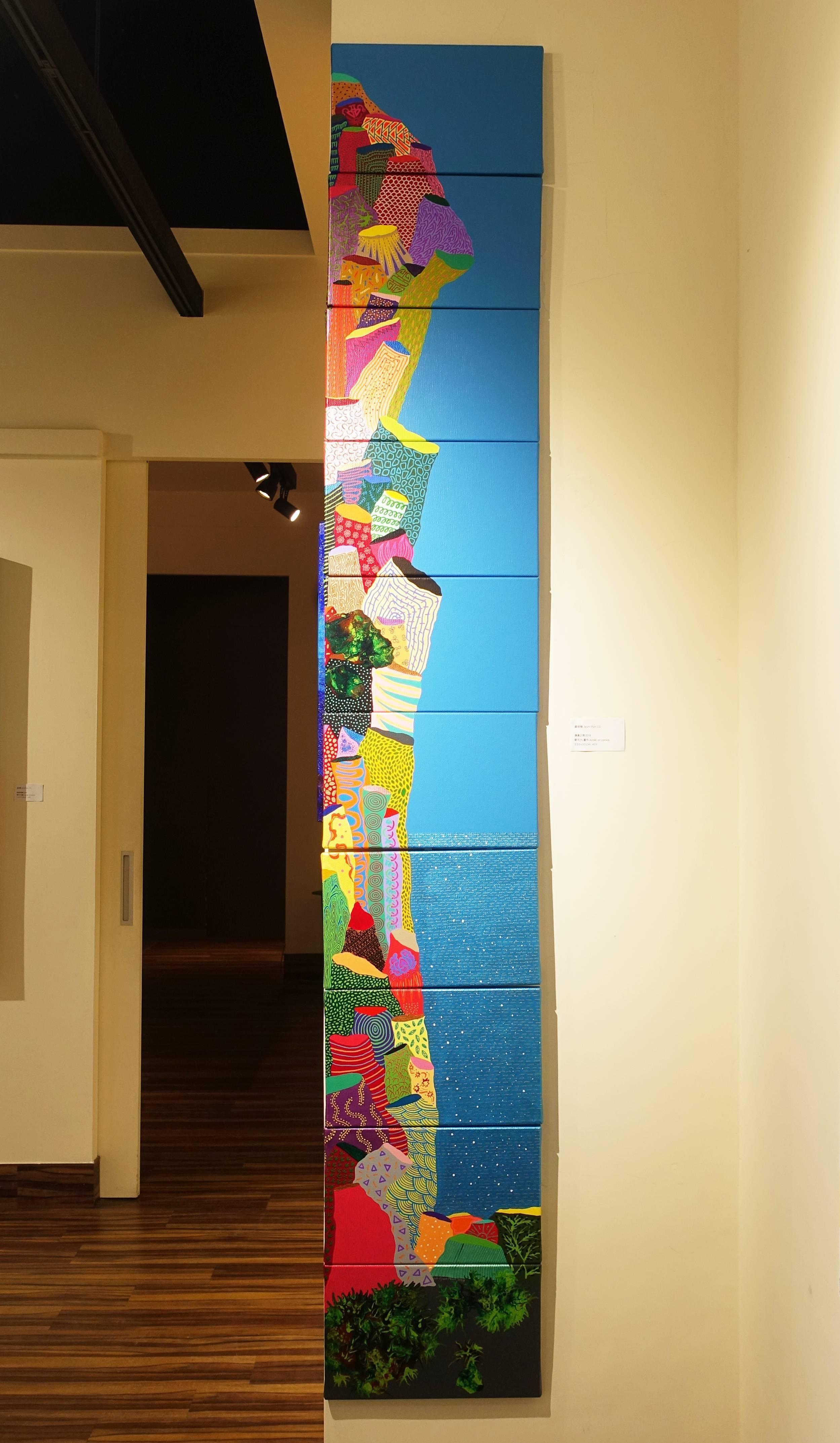 盧俊翰,《邊邊之境》,220 x 35 cm,壓克力,2018。