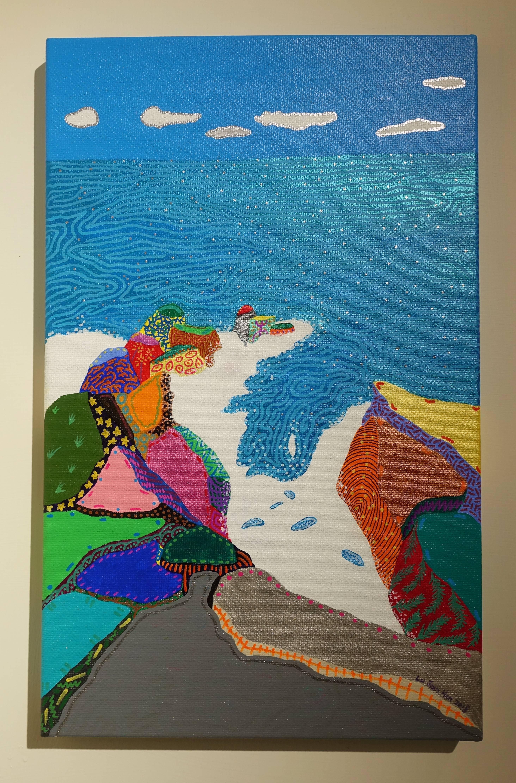 盧俊翰,《海蝕崖處觀海》,53 x 33 cm,壓克力,2018。