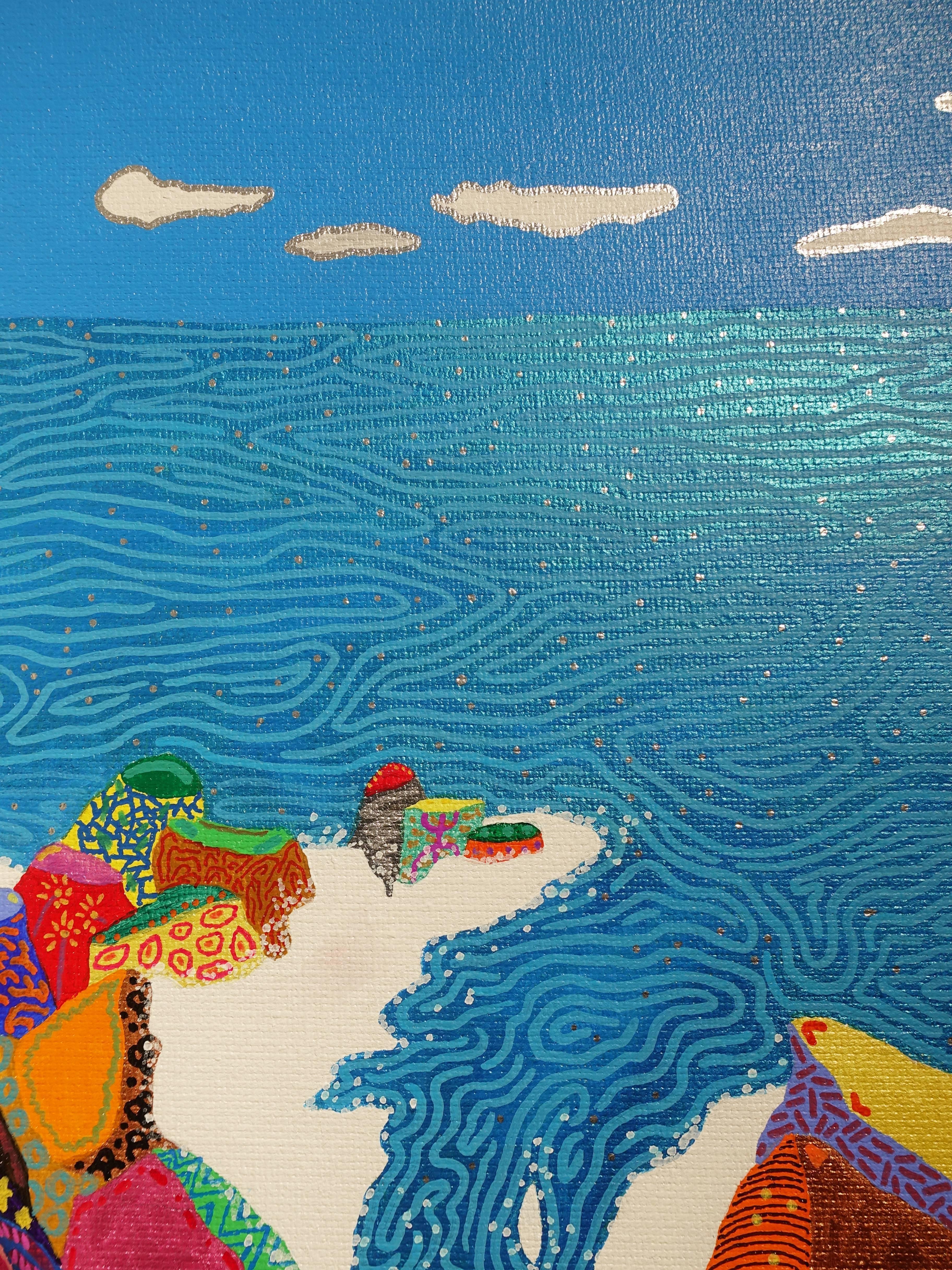 盧俊翰,《海蝕崖處觀海》細節,53 x 33 cm,壓克力,2018。