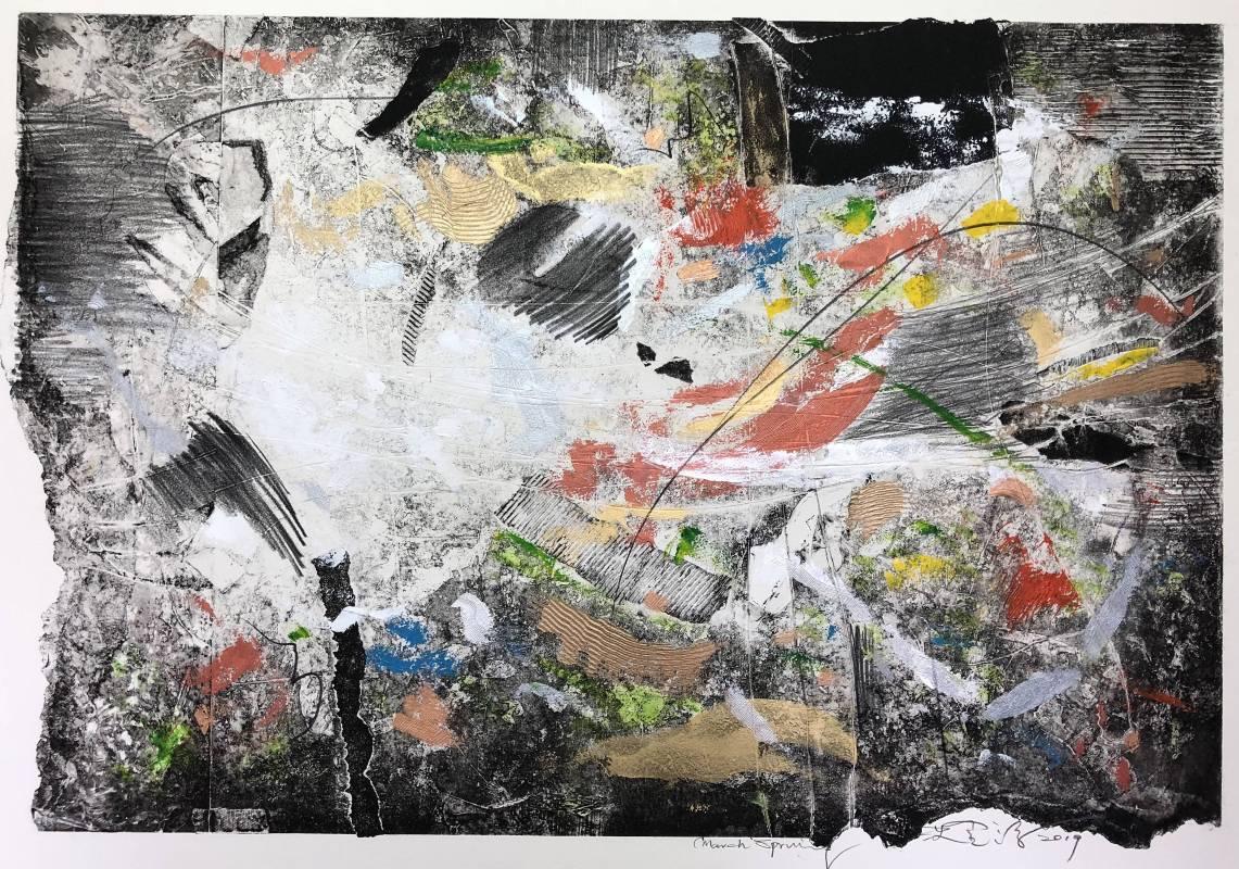 沈金源Rock Chin-Yuan Shen  三月春 March Spring複合媒材、畫布 Mixed media on canvas65x96cm2019