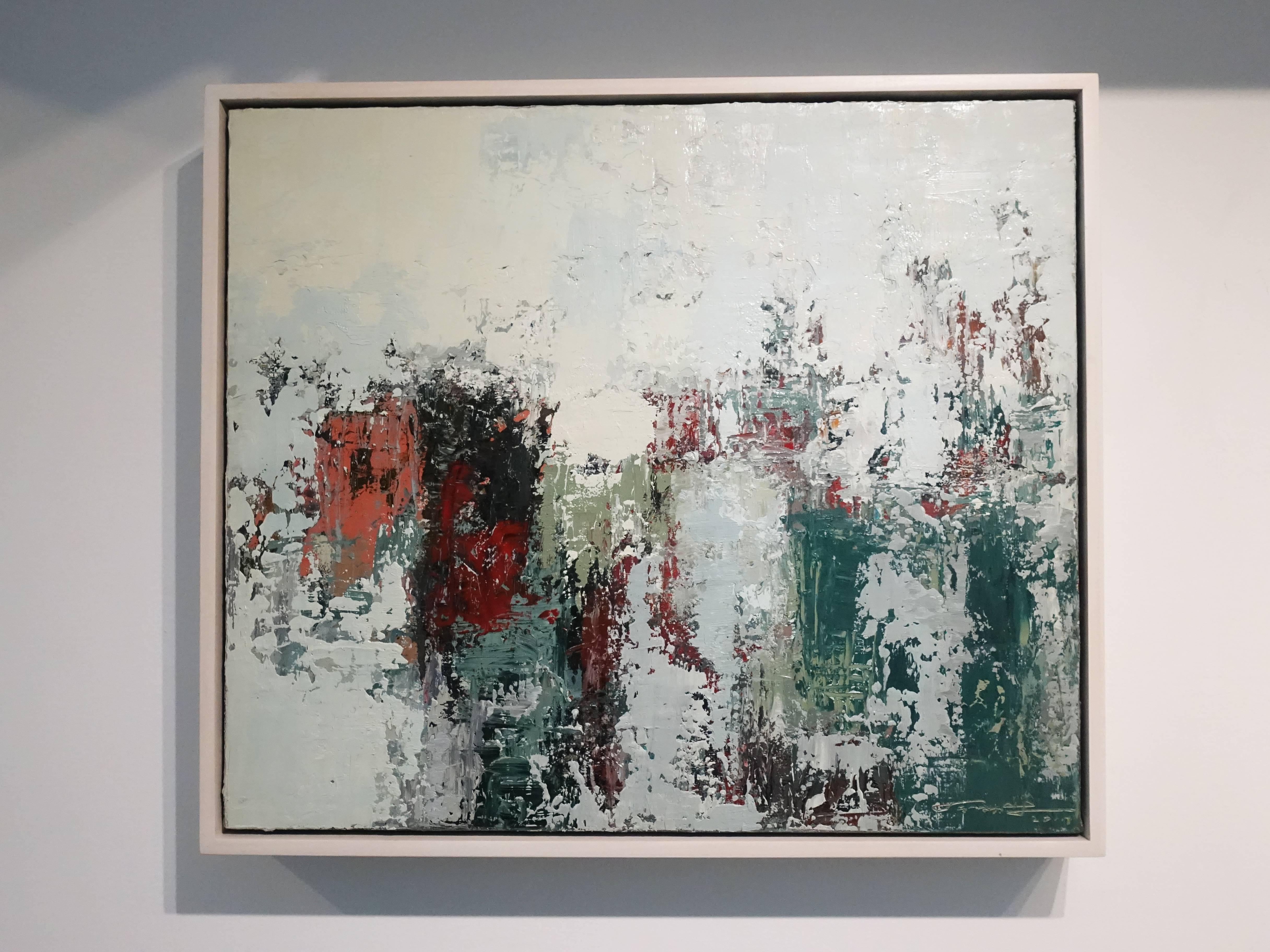徐明豐,《記憶‧景像之八》,53 x 45.5 cm,複合媒材油畫,2017。