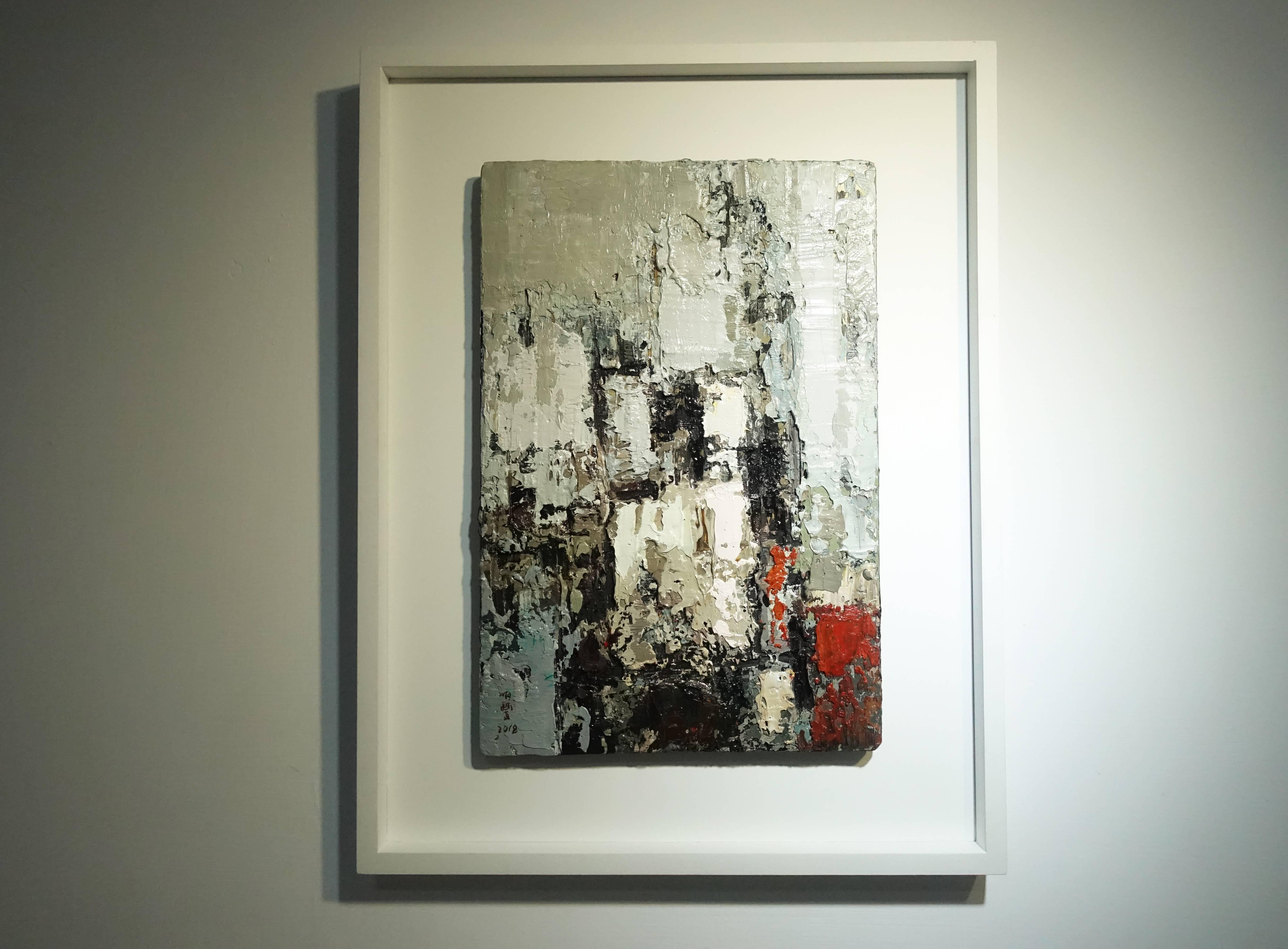 徐明豐,《城市即景之三》,35 x 24 cm,複合媒材木板,2018。