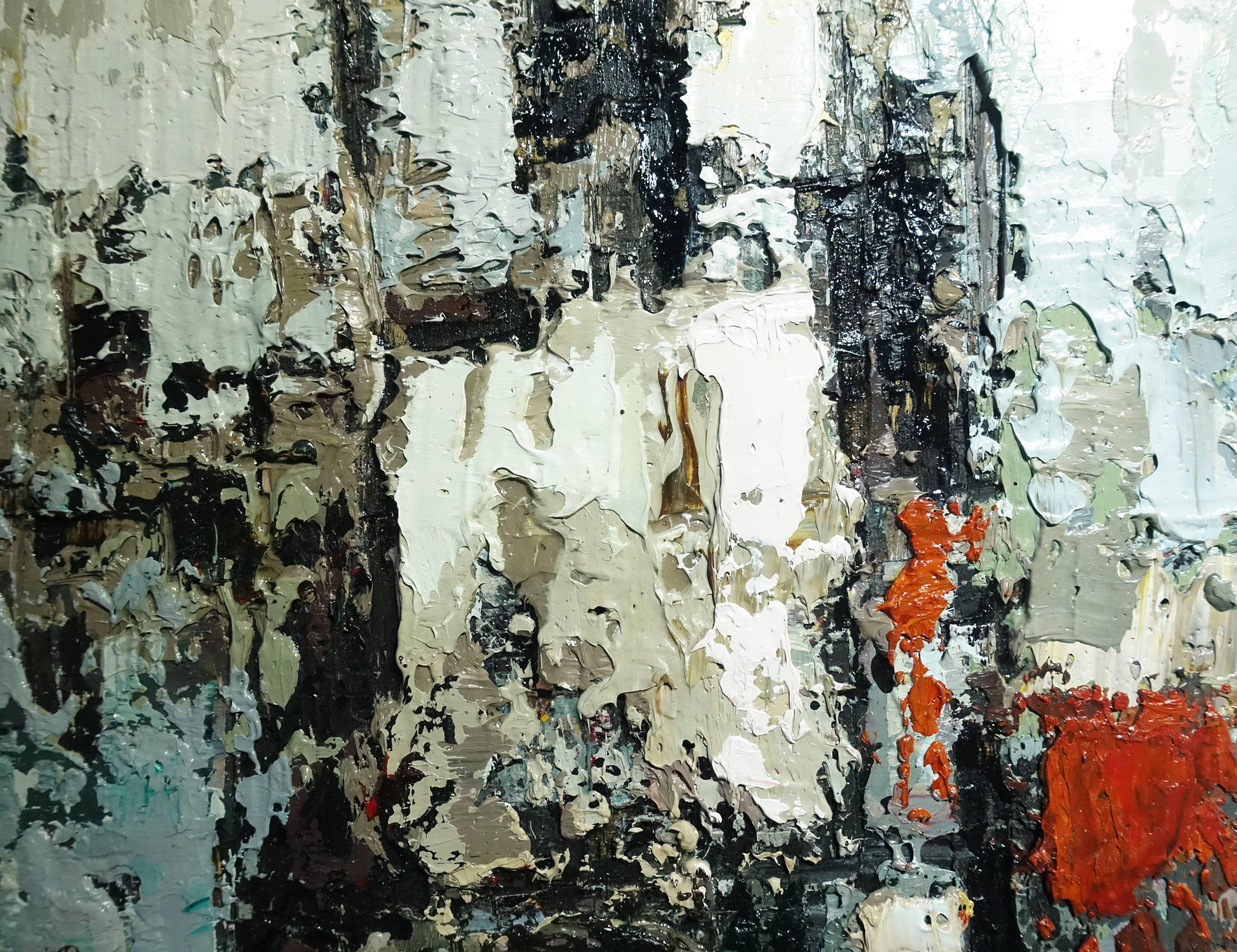徐明豐,《城市即景之三》細節,35 x 24 cm,複合媒材木板,2018。
