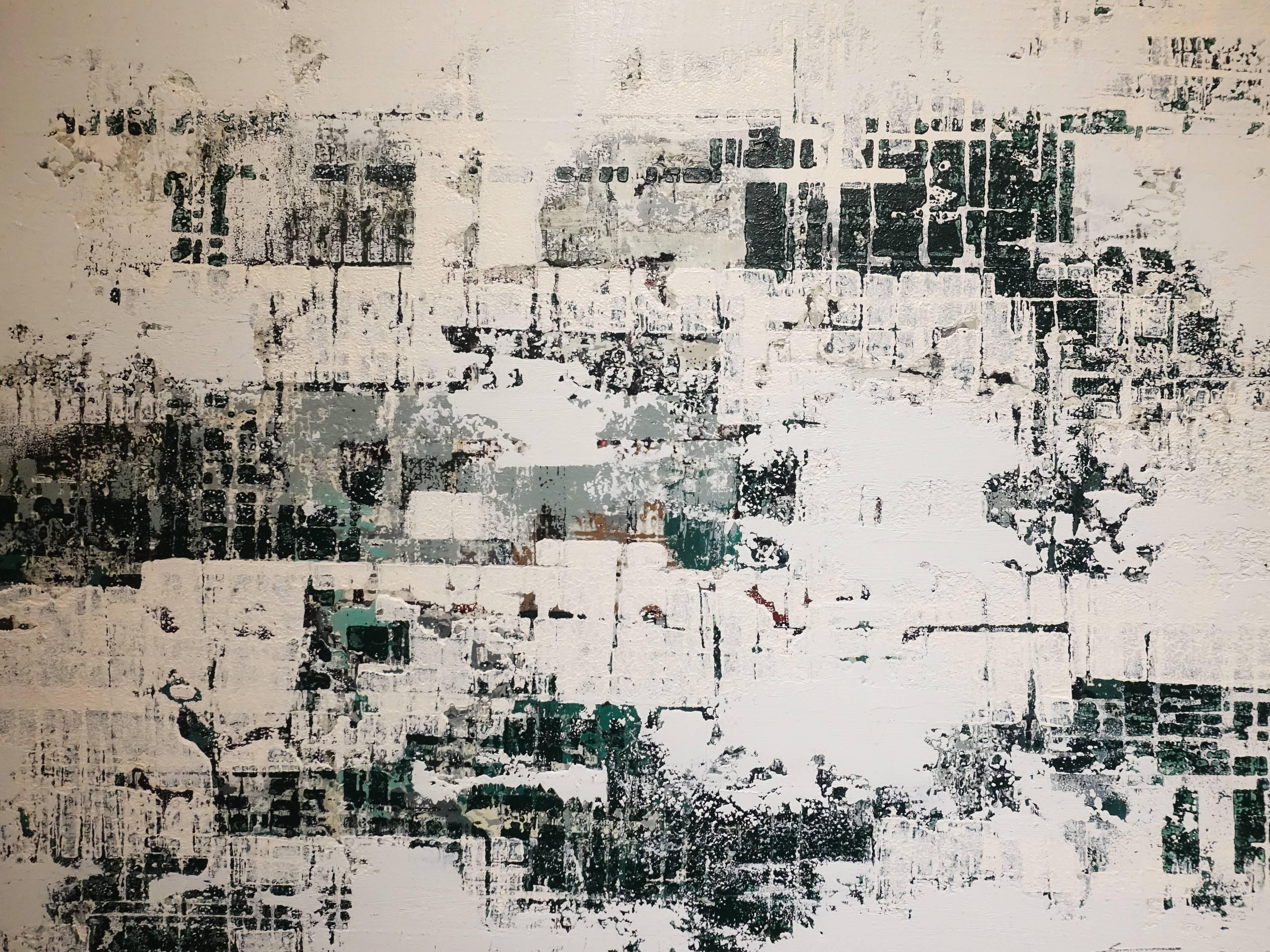 徐明豐,《移動的風景之二》細節,39 x 51 cm,複合媒材,2018。