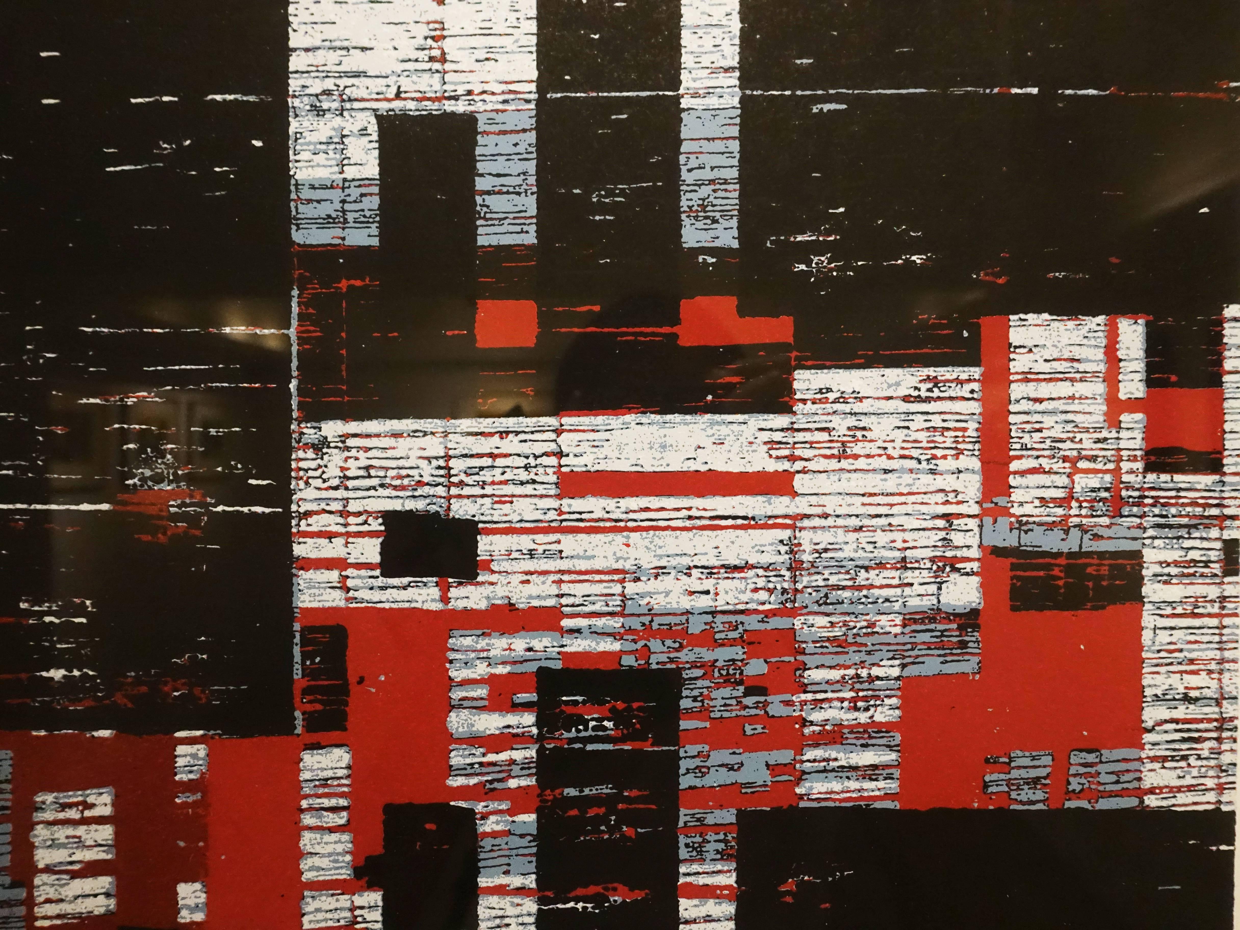 徐明豐,《景觀 空間之十六》細節,50 x 50 cm,絹印版畫,2018。