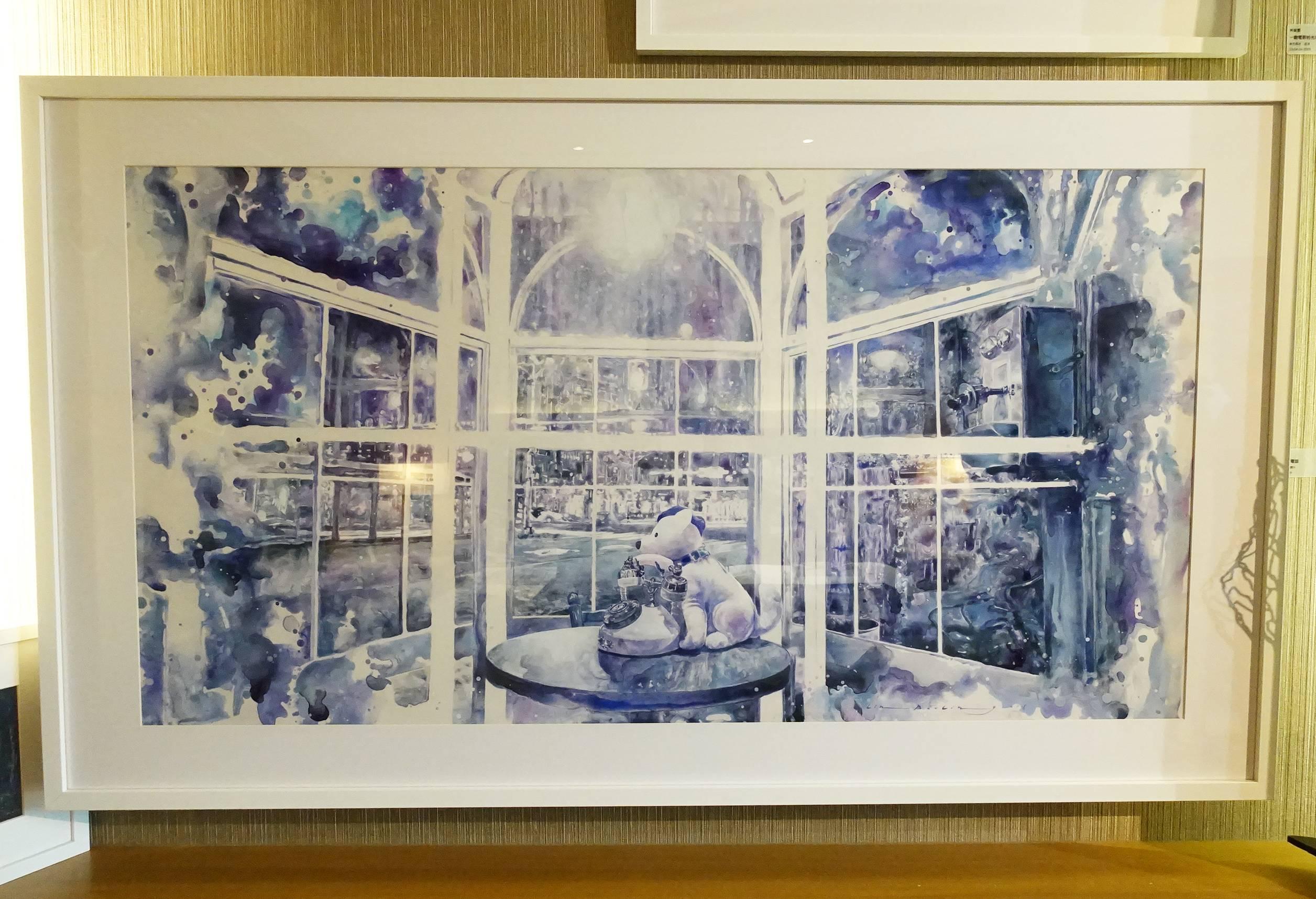 索卡藝術展出藝術家 - 林葆靈,《靜靜地守著電話》,61 x 116 cm,壓克力彩、製圖膠片,2019。