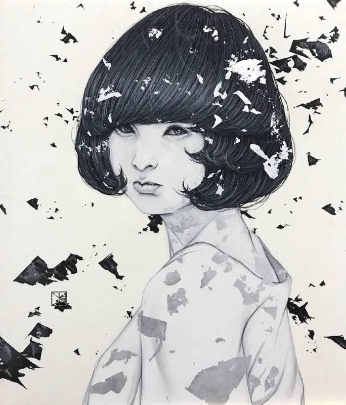 川島優 Yu Kawashima, 繼承者 10-J RE‒CIPIENT 10‒J, 2018, 墨、礦物顏料及銀箔於紙上, 53.0 × 45.5 cm。圖/白石畫廊提供