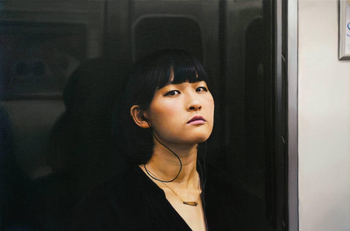 伊格・歐瑟瑞 Yigal Ozeri, 無題;地下鐵 Untitled_ Subway, 2018, 油彩畫布 Oil on canvas, 30.48 × 45.73cm。圖/白石畫廊提供