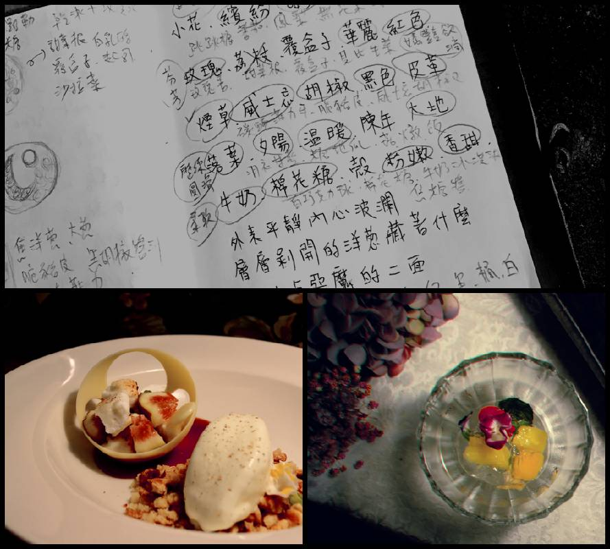 主廚設計理念筆稿及Portraits主題餐點示意圖