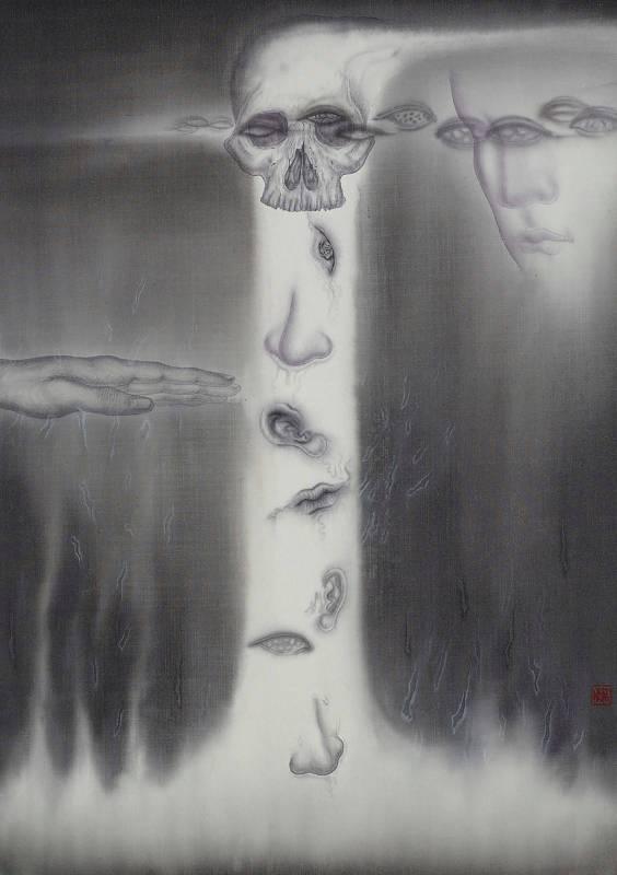 劉信義 Liu Hsin Yi / 冥思凝想  Meditation  64.5x45 cm 水墨絹本 Ink on Silk 2019