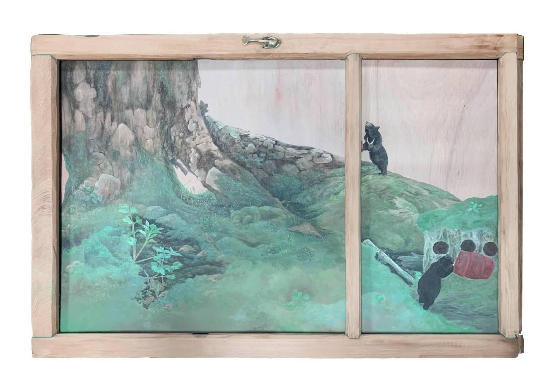 陳彥廷 Chen Yen Ting /  晌午,片刻幽靜  Quiet Moment   57 x 85.5cm  設色木板、複合媒材 Color and Ink on Paper、 mixed media  2019